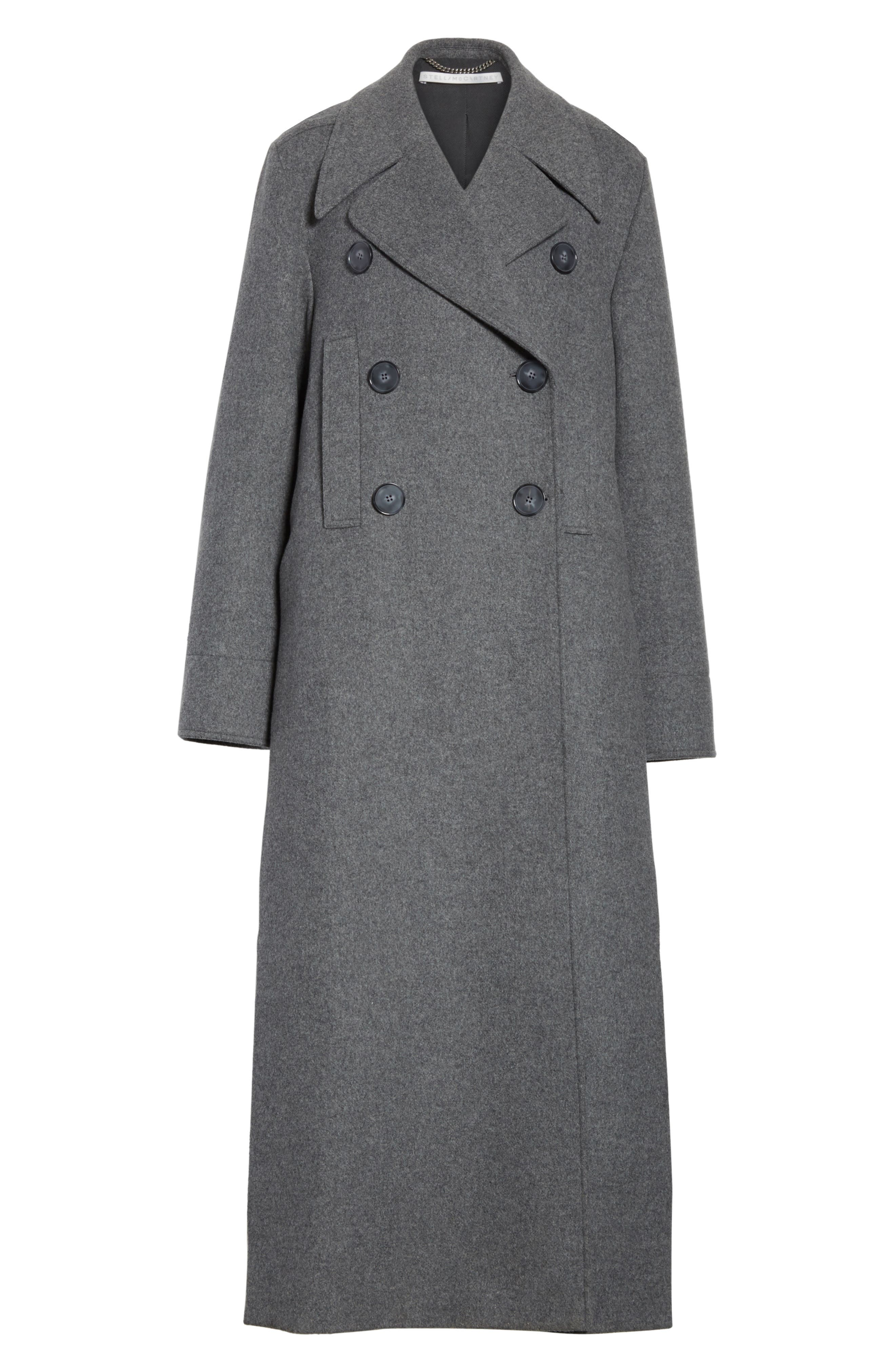 Edwina Long Double Breasted Wool Blend Coat,                             Alternate thumbnail 7, color,                             Graphite