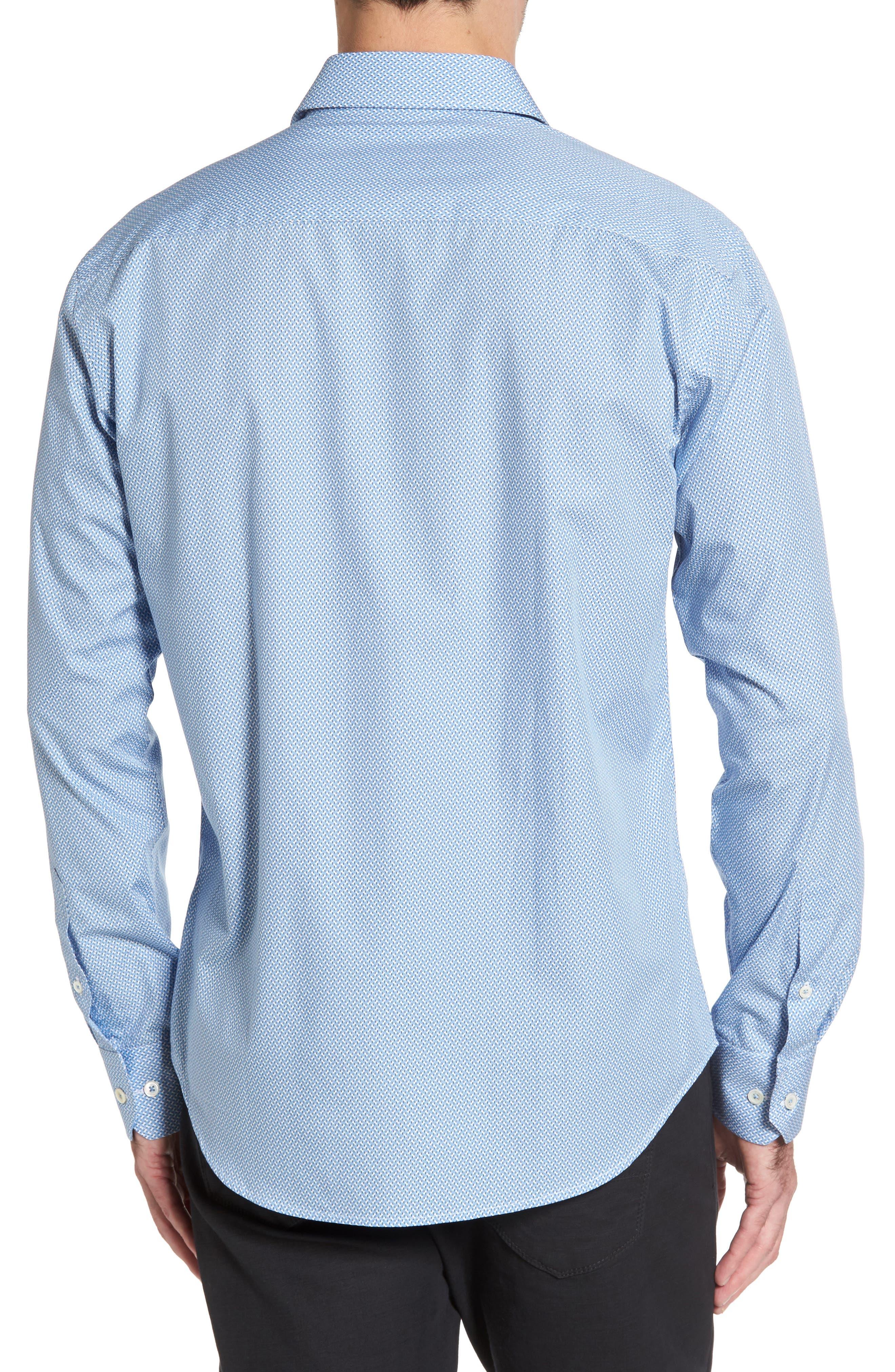 Shaped Fit Print Sport Shirt,                             Alternate thumbnail 2, color,                             Air Blue