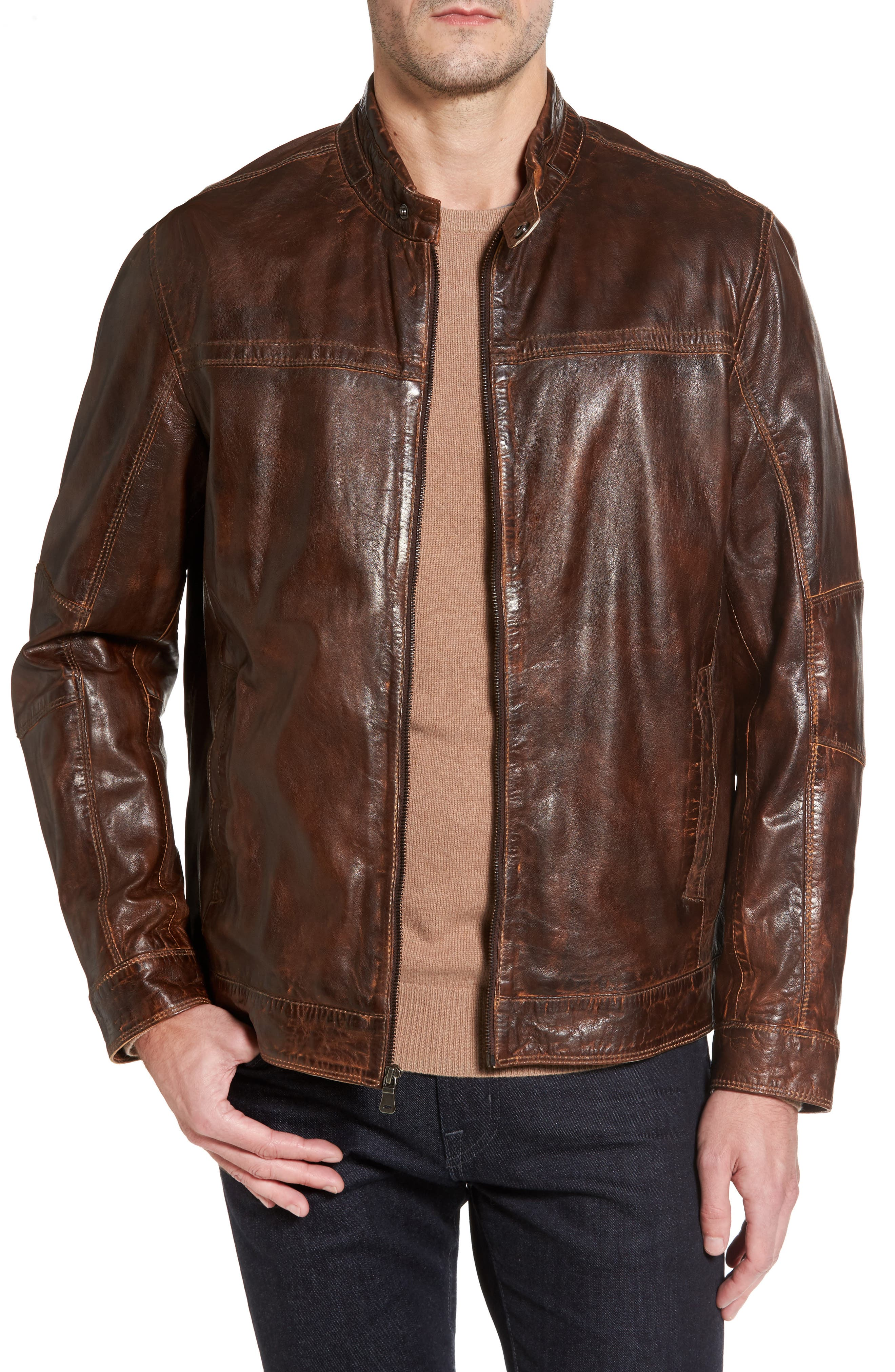 Vintage Leather Jacket,                             Main thumbnail 1, color,                             Brown