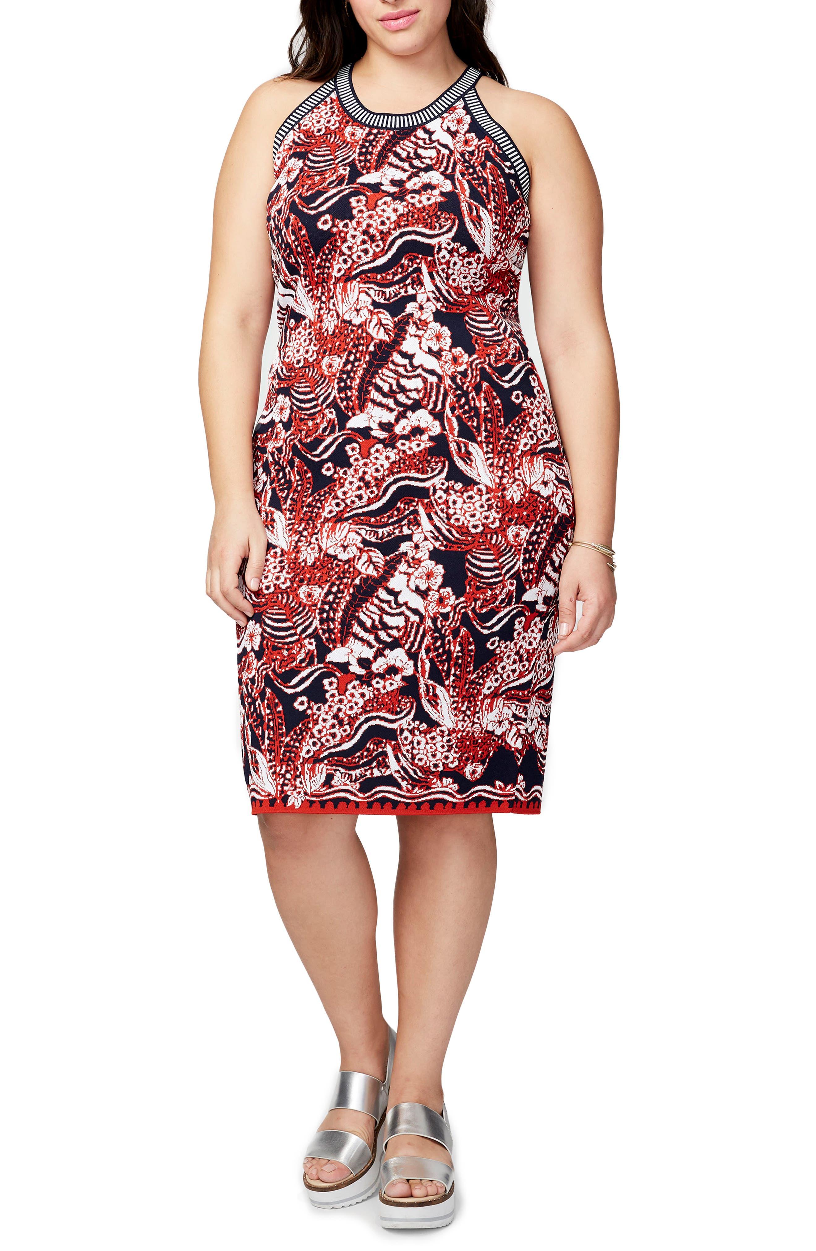 Main Image - RACHEL Rachel Roy Floral Jacquard Halter Neck Sweater Dress (Plus Size)