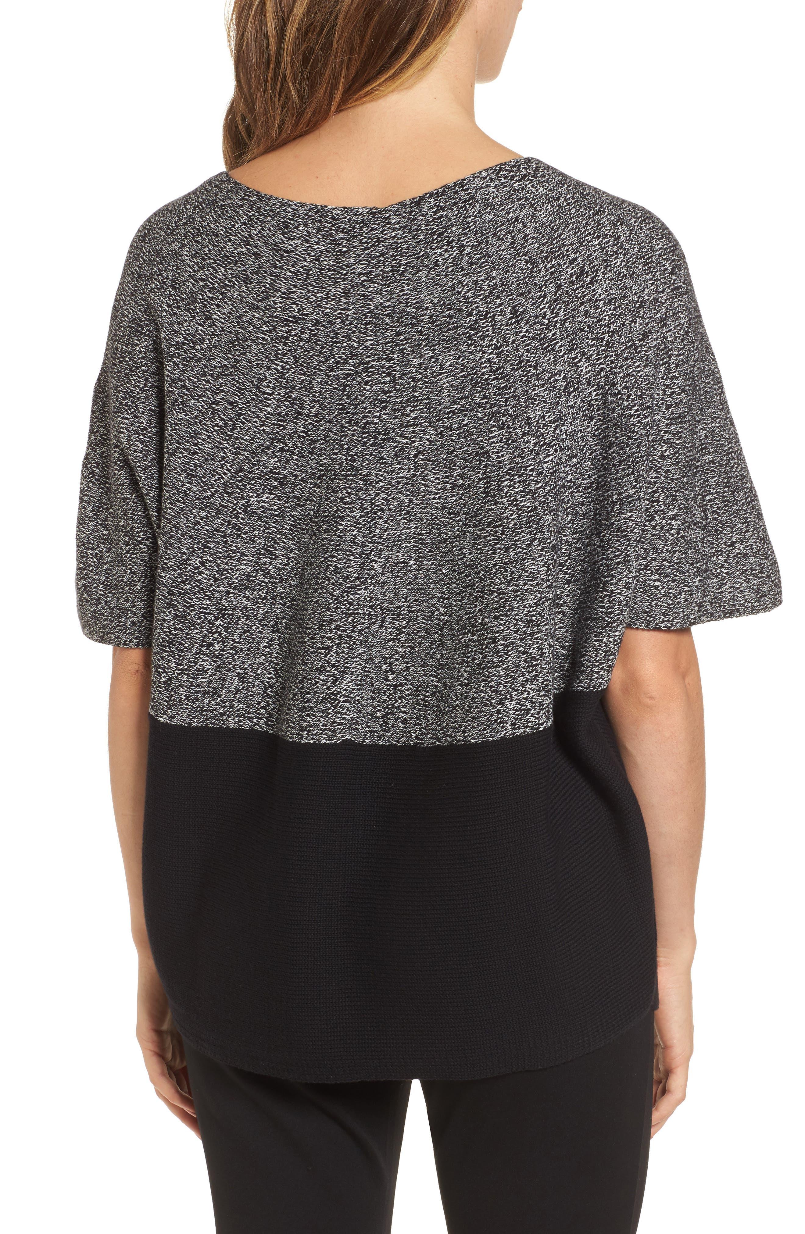 Colorblock Kimono Sleeve Sweater,                             Alternate thumbnail 2, color,                             Rich Black