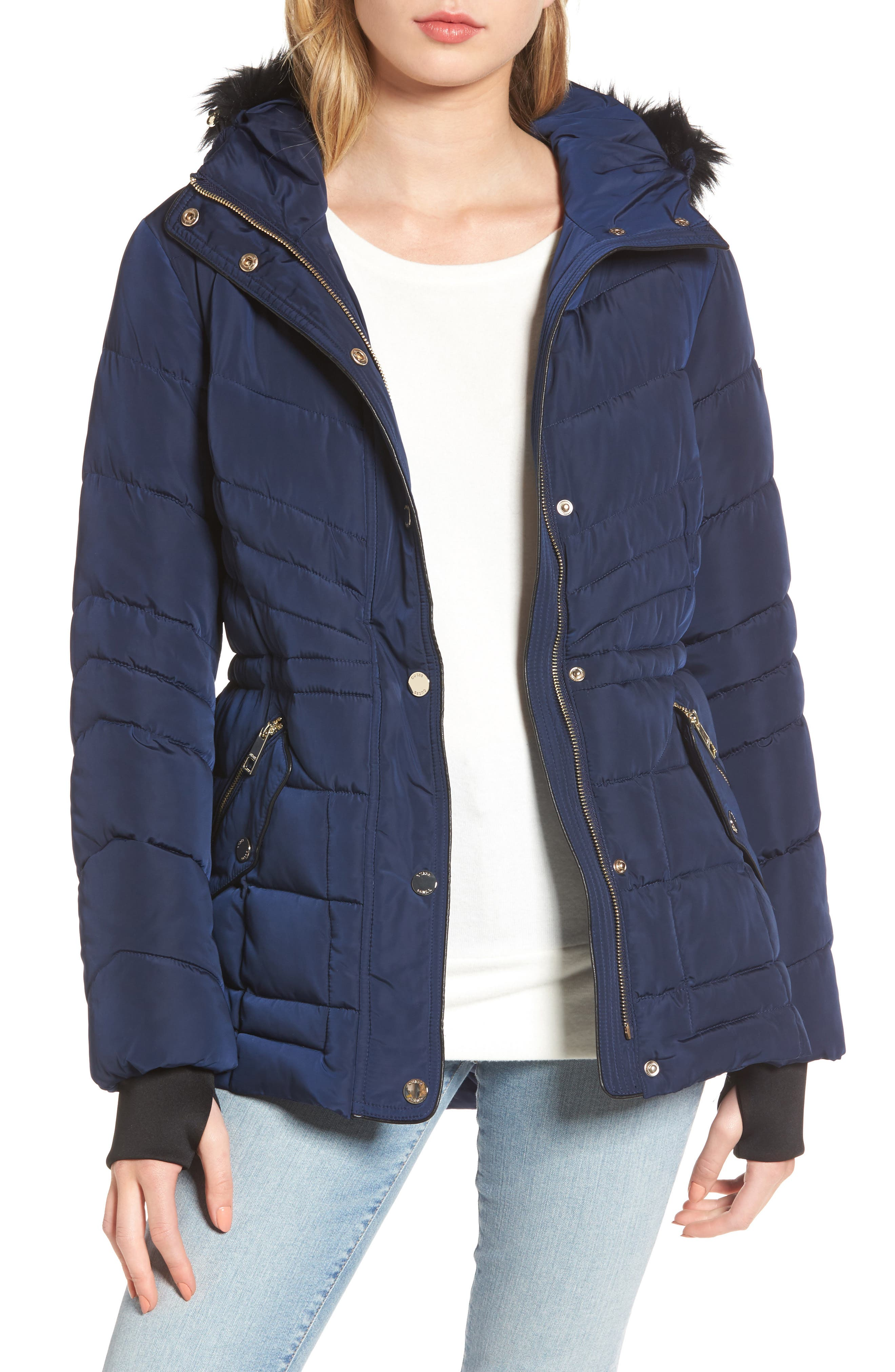 Main Image - GUESS Faux Fur Trim Quilted Anorak