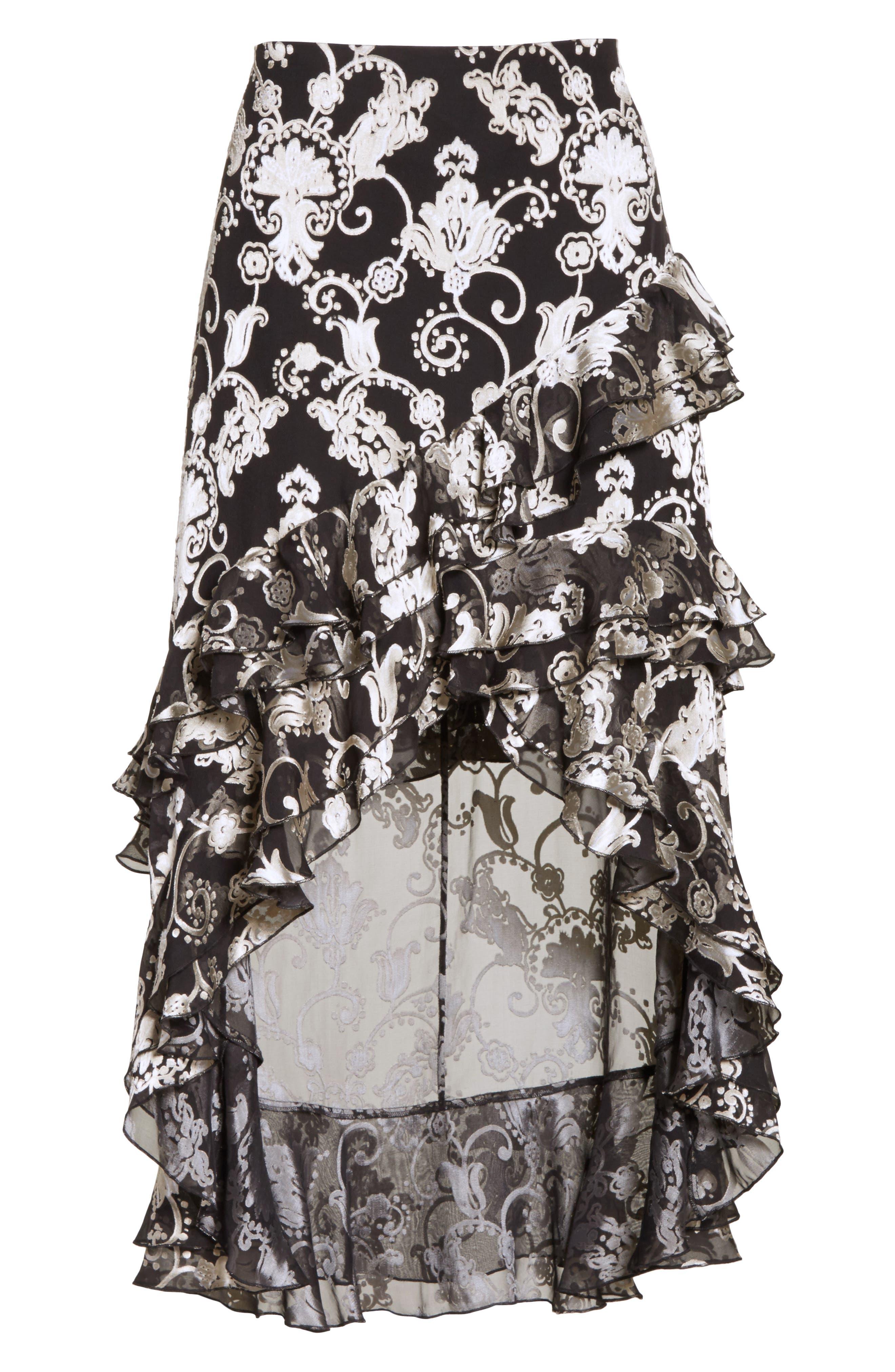 Sasha Asymmetrical Tiered Ruffle Skirt,                             Alternate thumbnail 7, color,                             Black/ White