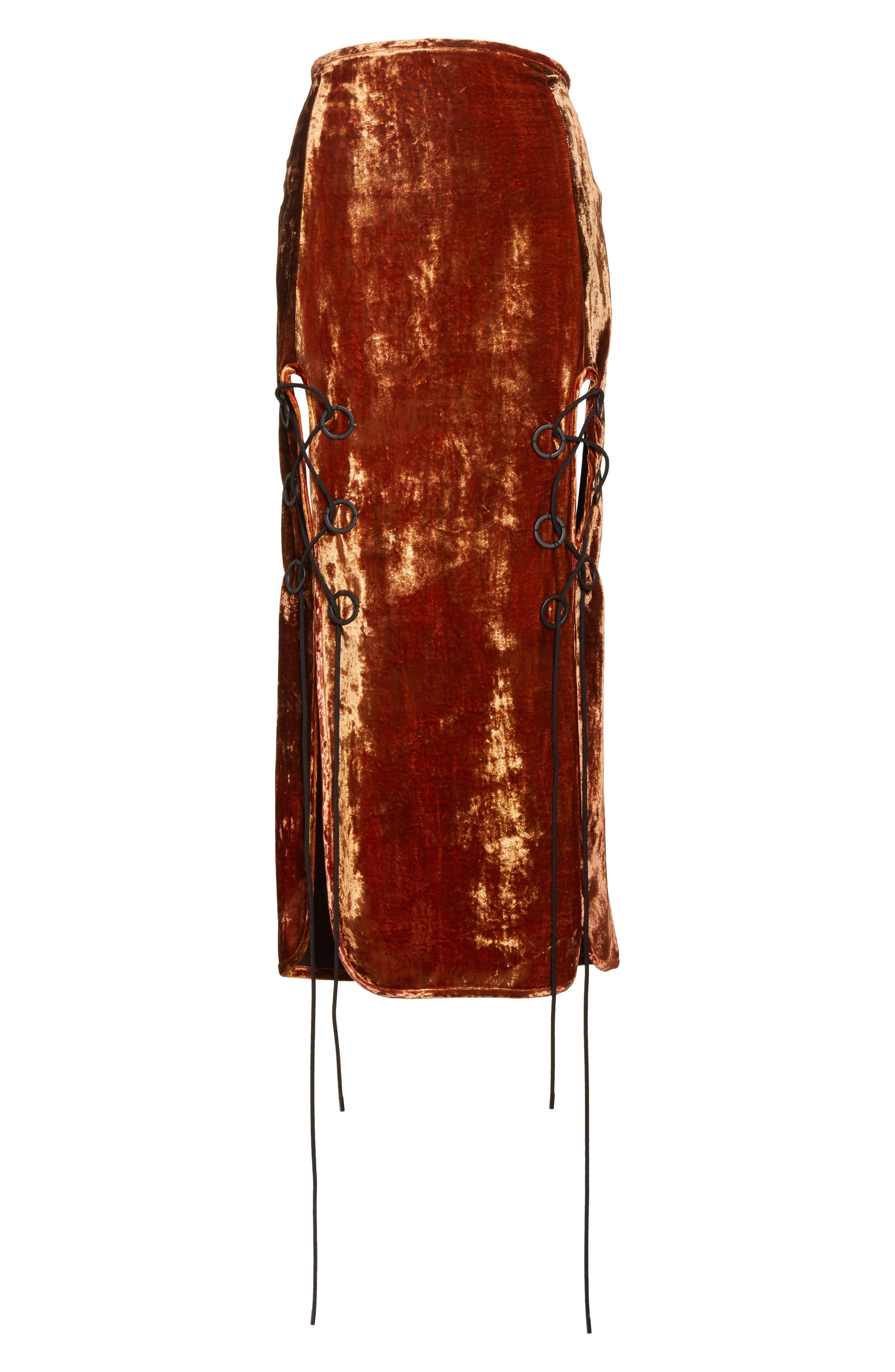 Alternate Image 6  - Ellery The Blues Lace Up Crushed Velvet Midi Skirt
