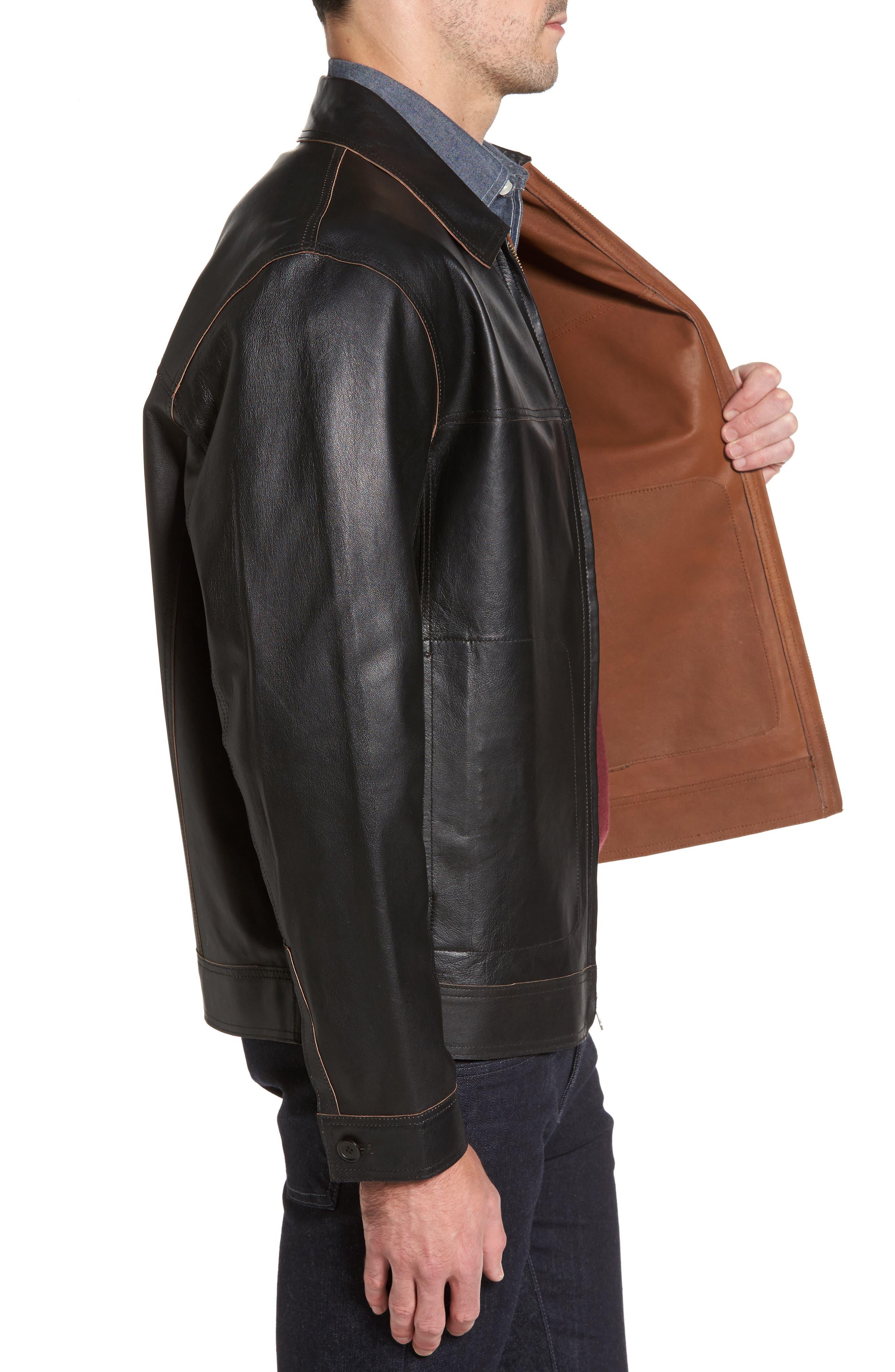 Reversible Leather Jacket,                             Alternate thumbnail 4, color,                             Black