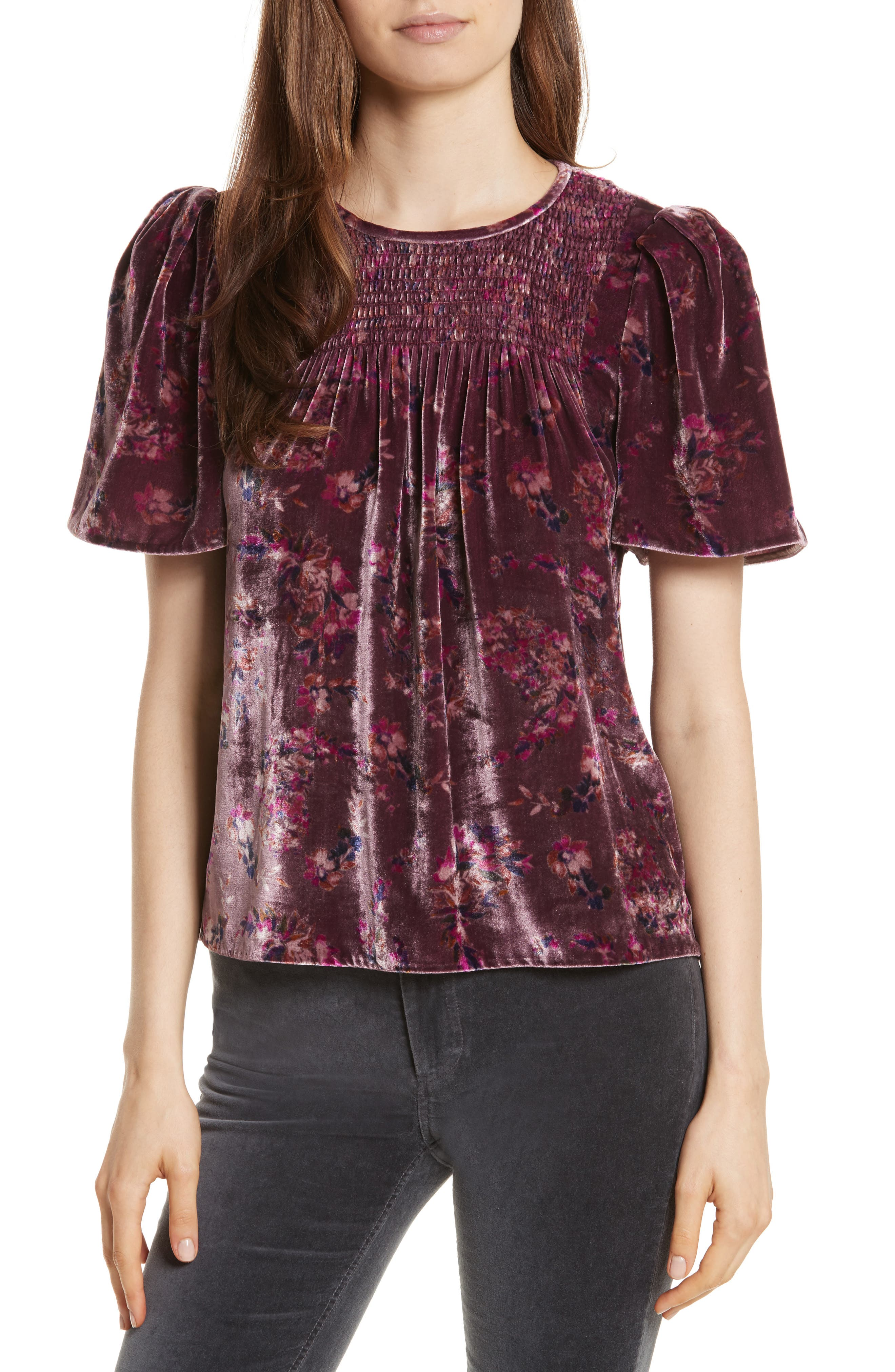Rebecca Taylor Jewel Paisley Smocked Velvet Top