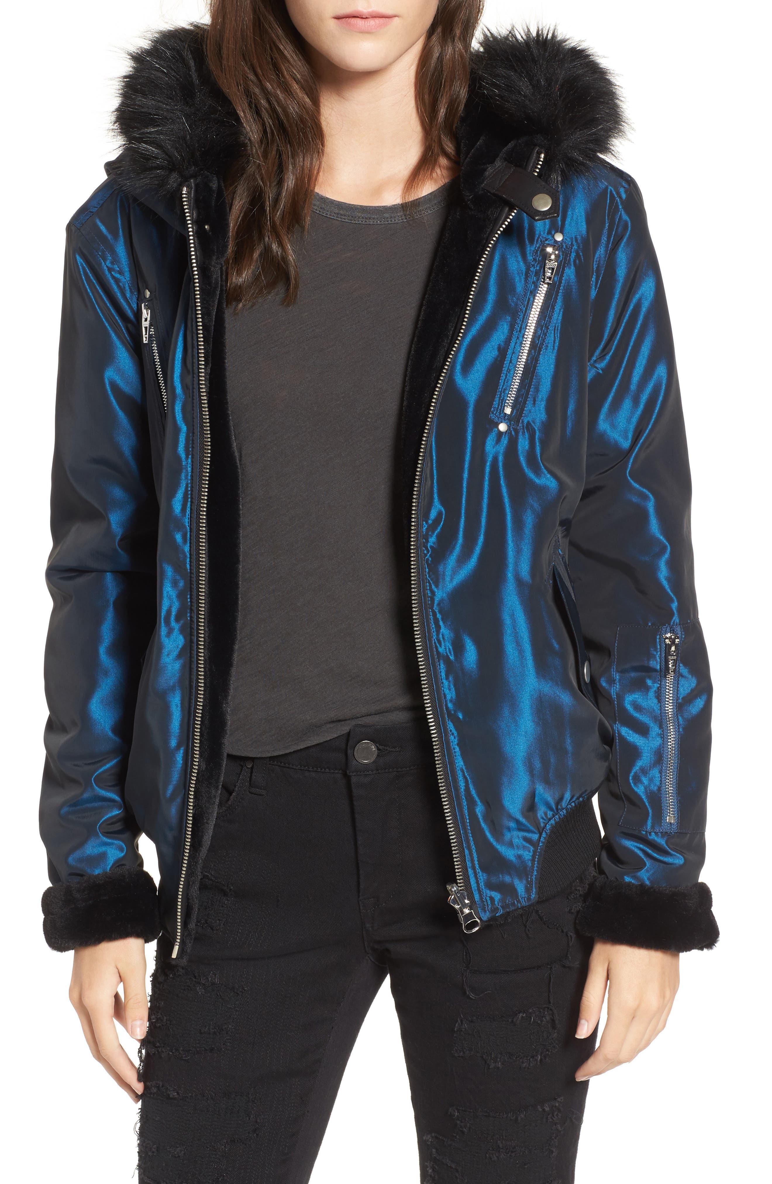 BLANKNYC Sailor Reversible Faux Fur Trim Jacket