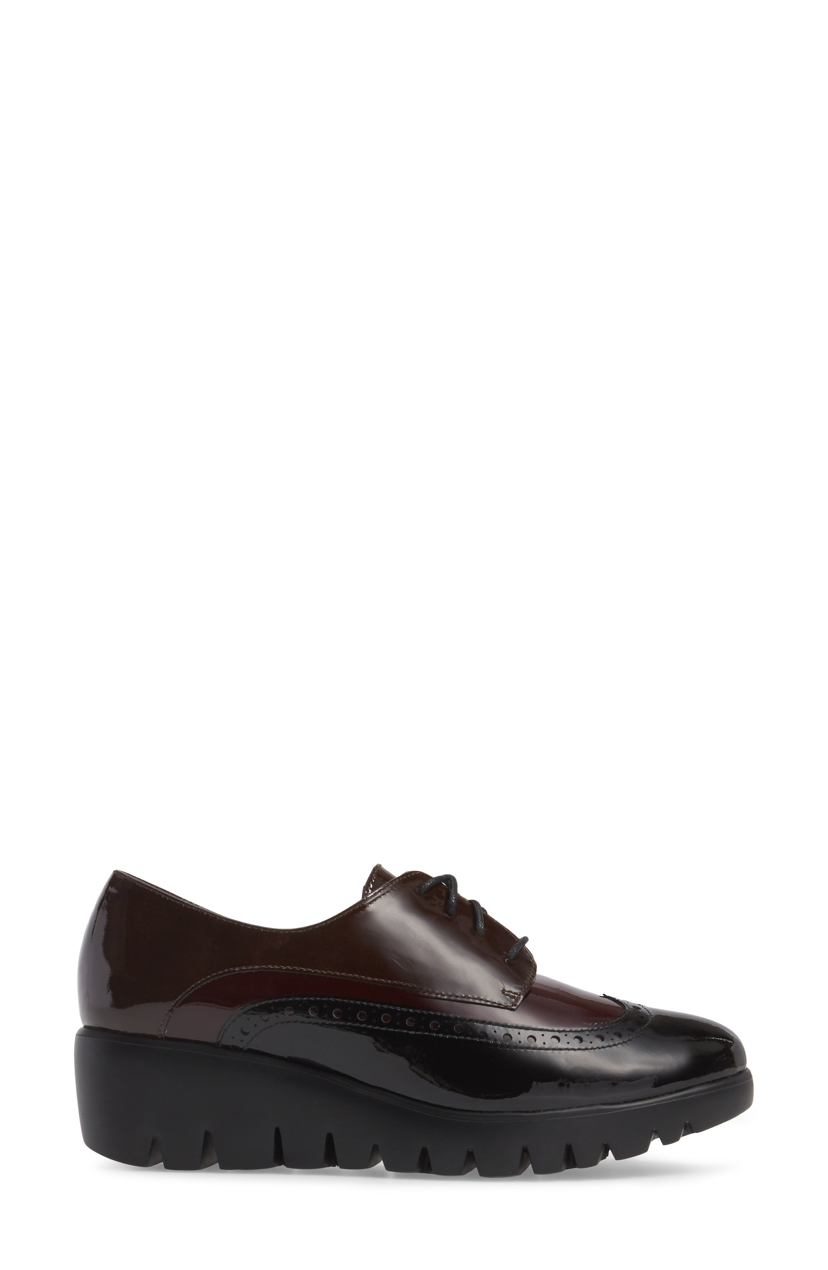Wedge Wingtip Derby,                             Alternate thumbnail 3, color,                             Black/ Bordo Patent Leather