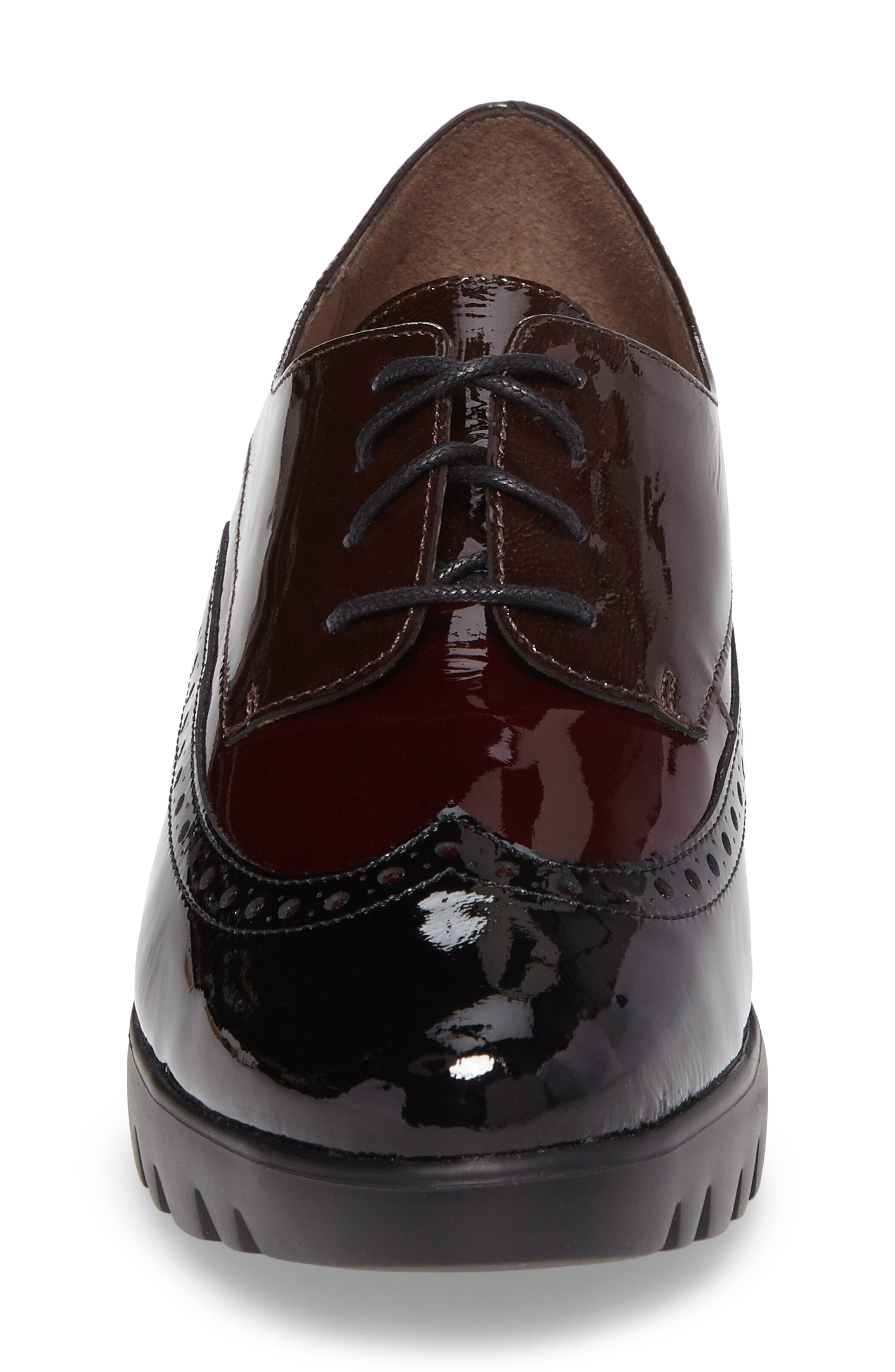 Wedge Wingtip Derby,                             Alternate thumbnail 4, color,                             Black/ Bordo Patent Leather