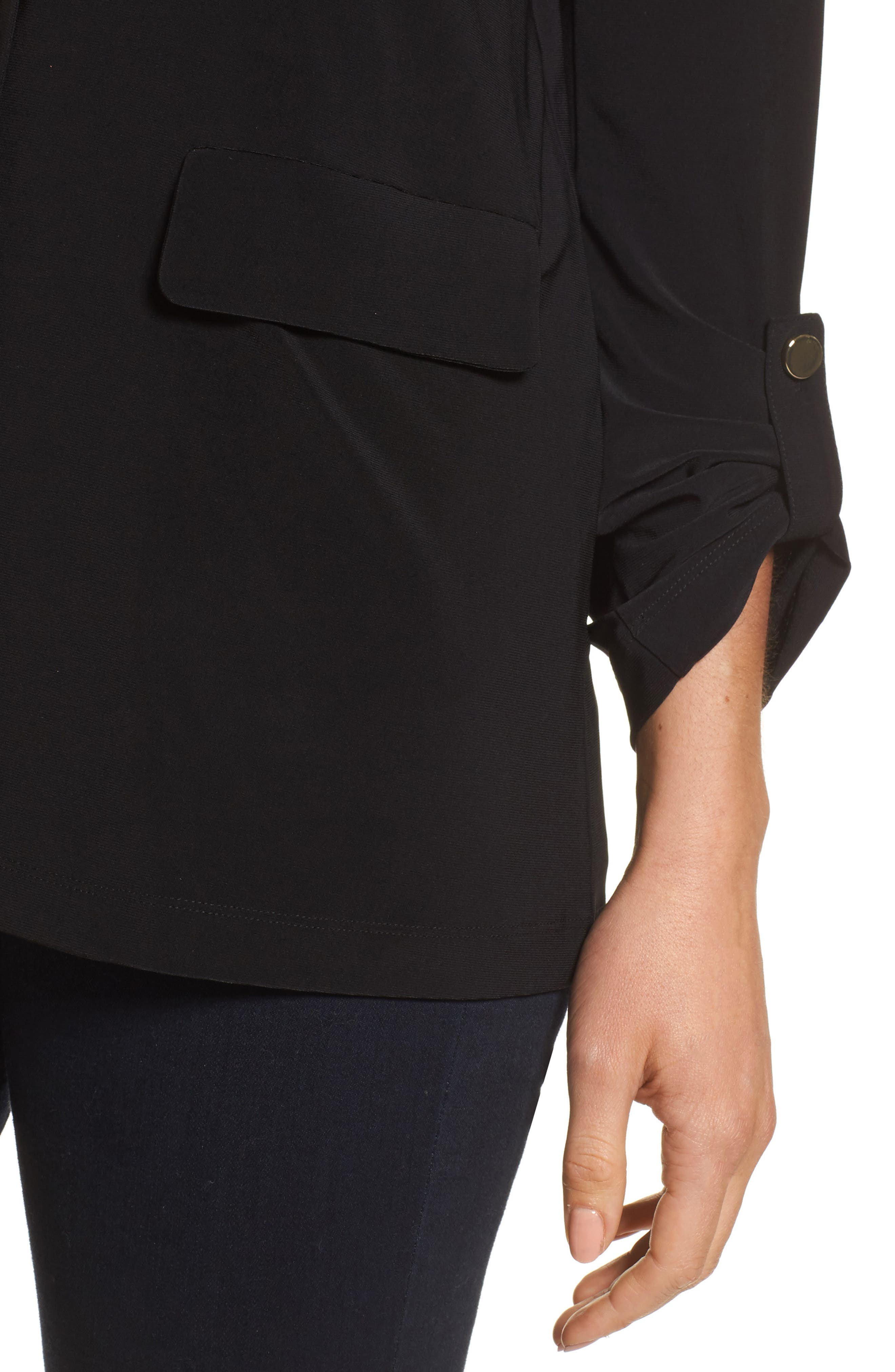 Roll Sleeve Jacket,                             Alternate thumbnail 4, color,                             Rich Black