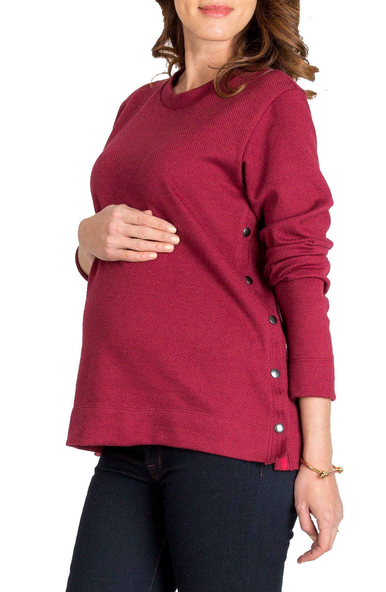 Olivia Snap Side Maternity Sweater,                             Main thumbnail 1, color,                             Merlot