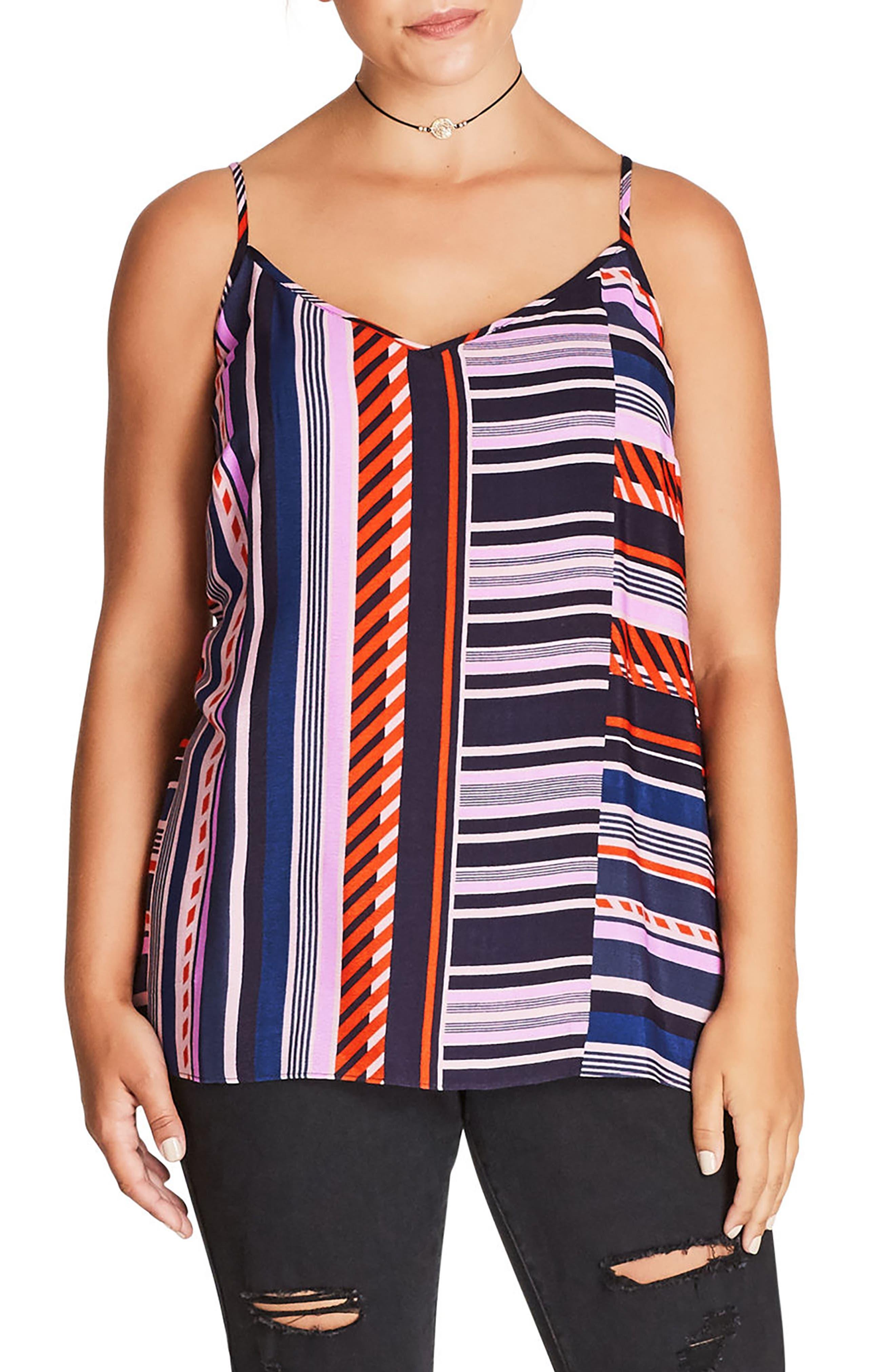 City Chic Super Stripe Cami (Plus Size)