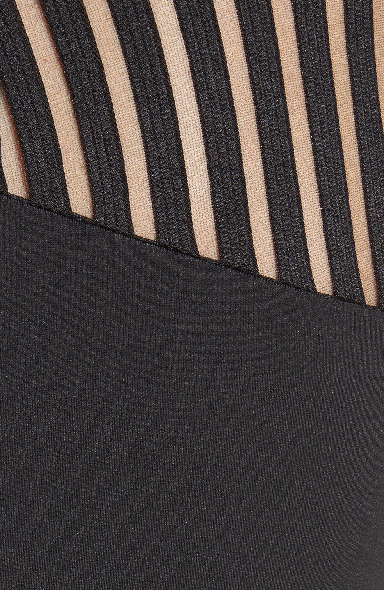 Lucette Mesh Detail Body Con Dress,                             Alternate thumbnail 5, color,                             Black