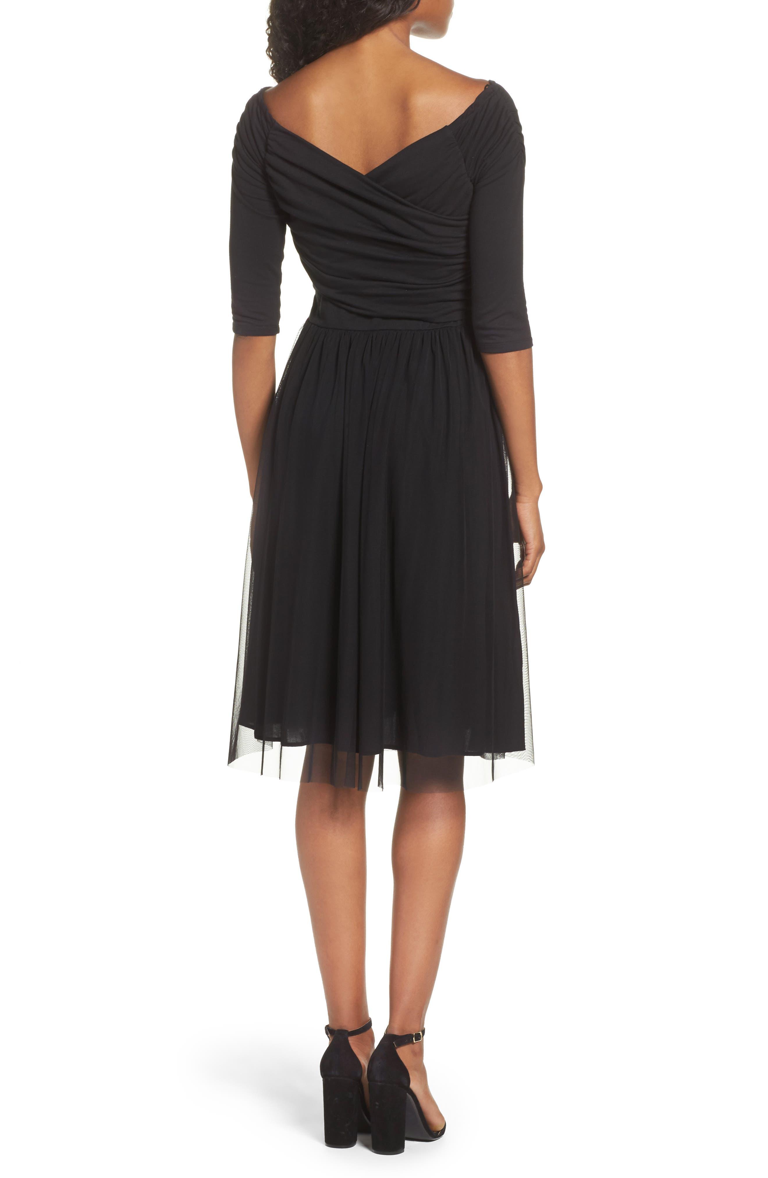 Tulle Fit & Flare Dress,                             Alternate thumbnail 2, color,                             Black