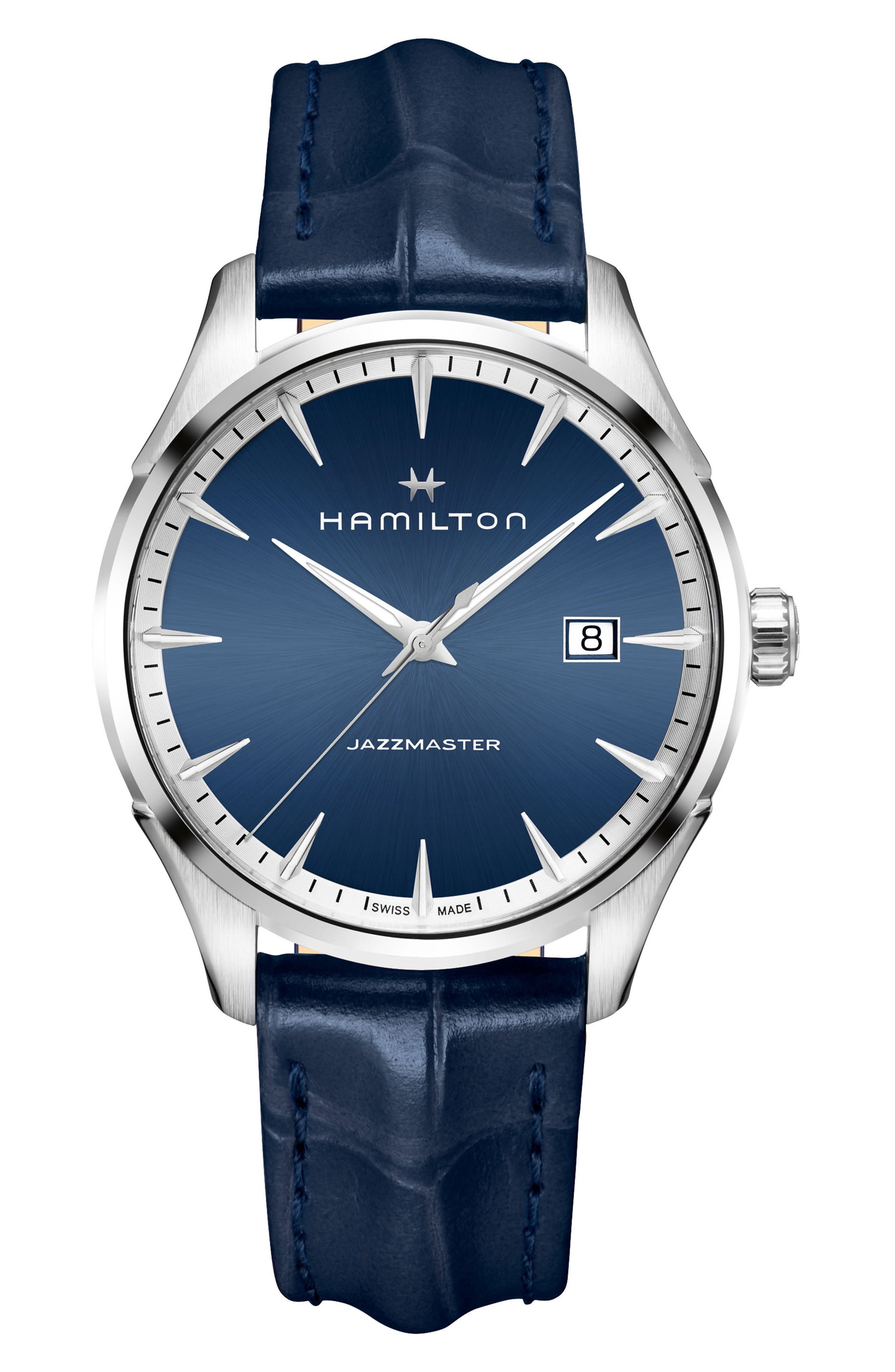 Main Image - Hamilton Jazzmaster Gent Leather Strap Watch, 40mm