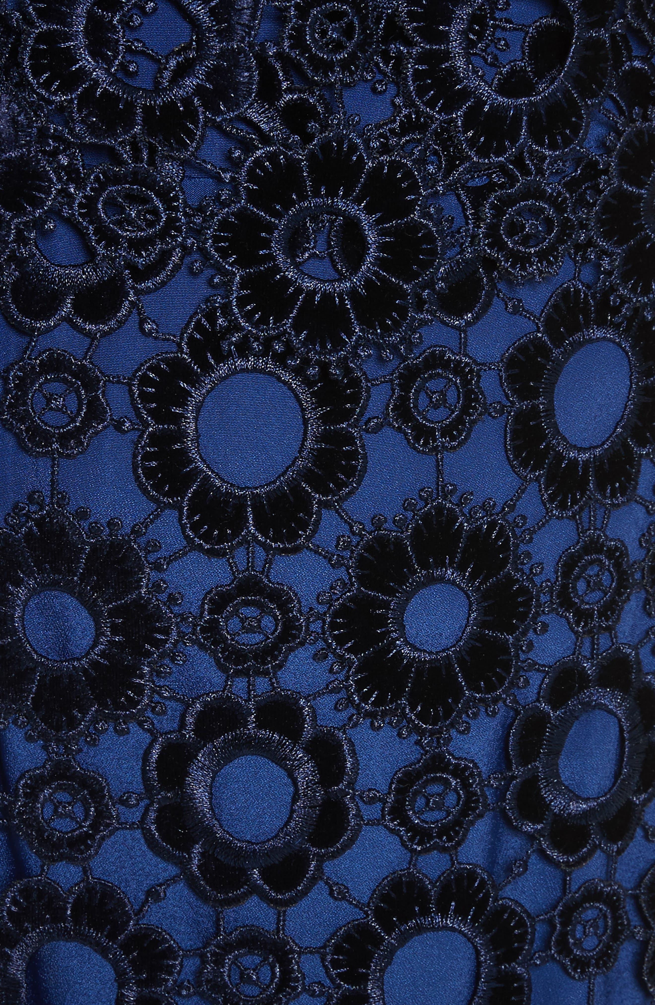 Lace One-Shoulder Midi Dress,                             Alternate thumbnail 5, color,                             Blue