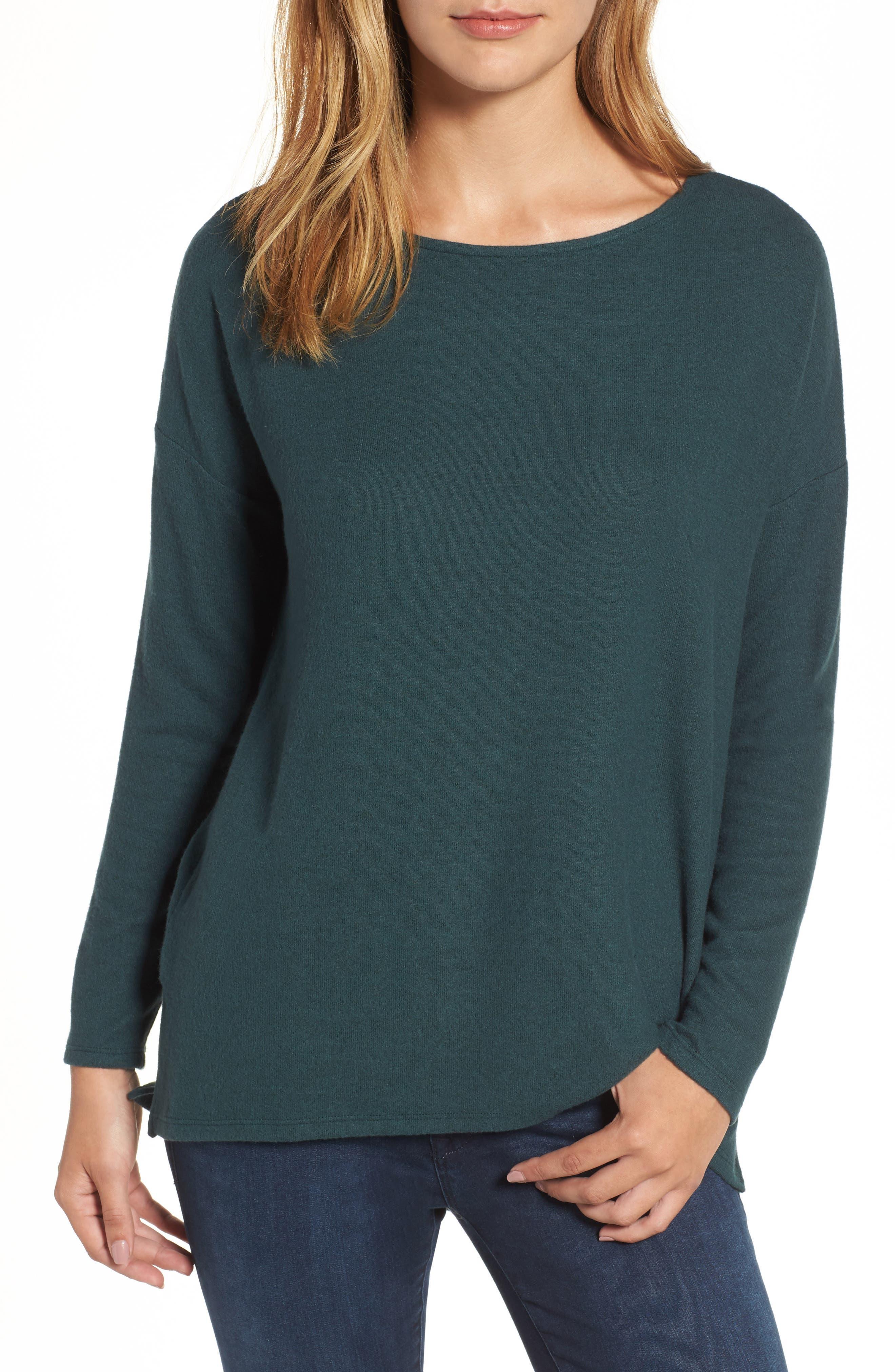 Cozy Ballet Neck High/Low Pullover,                         Main,                         color, Green Gables