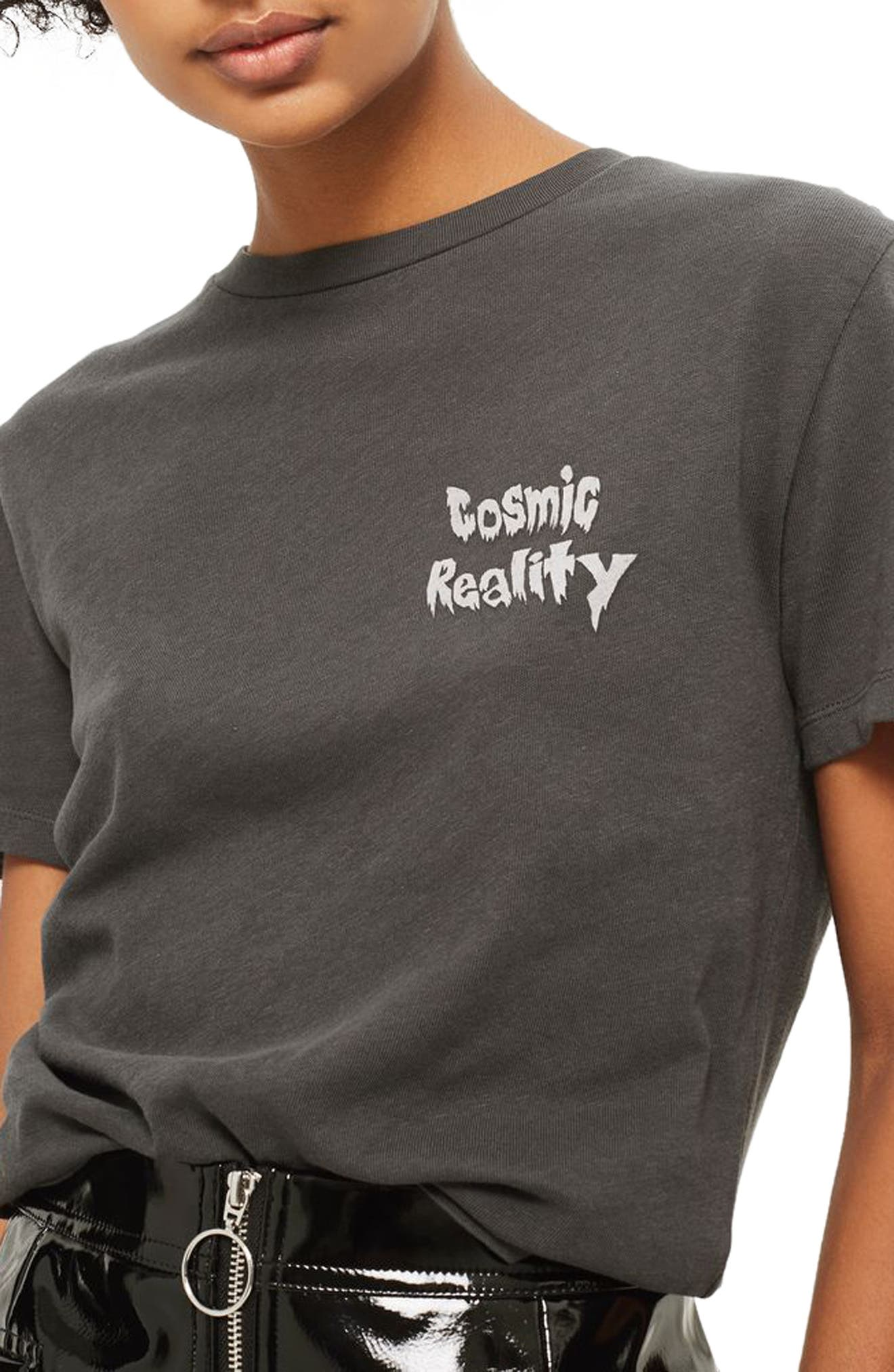 Cosmic Reality Graphic Tee,                             Main thumbnail 1, color,                             Washed Black Multi