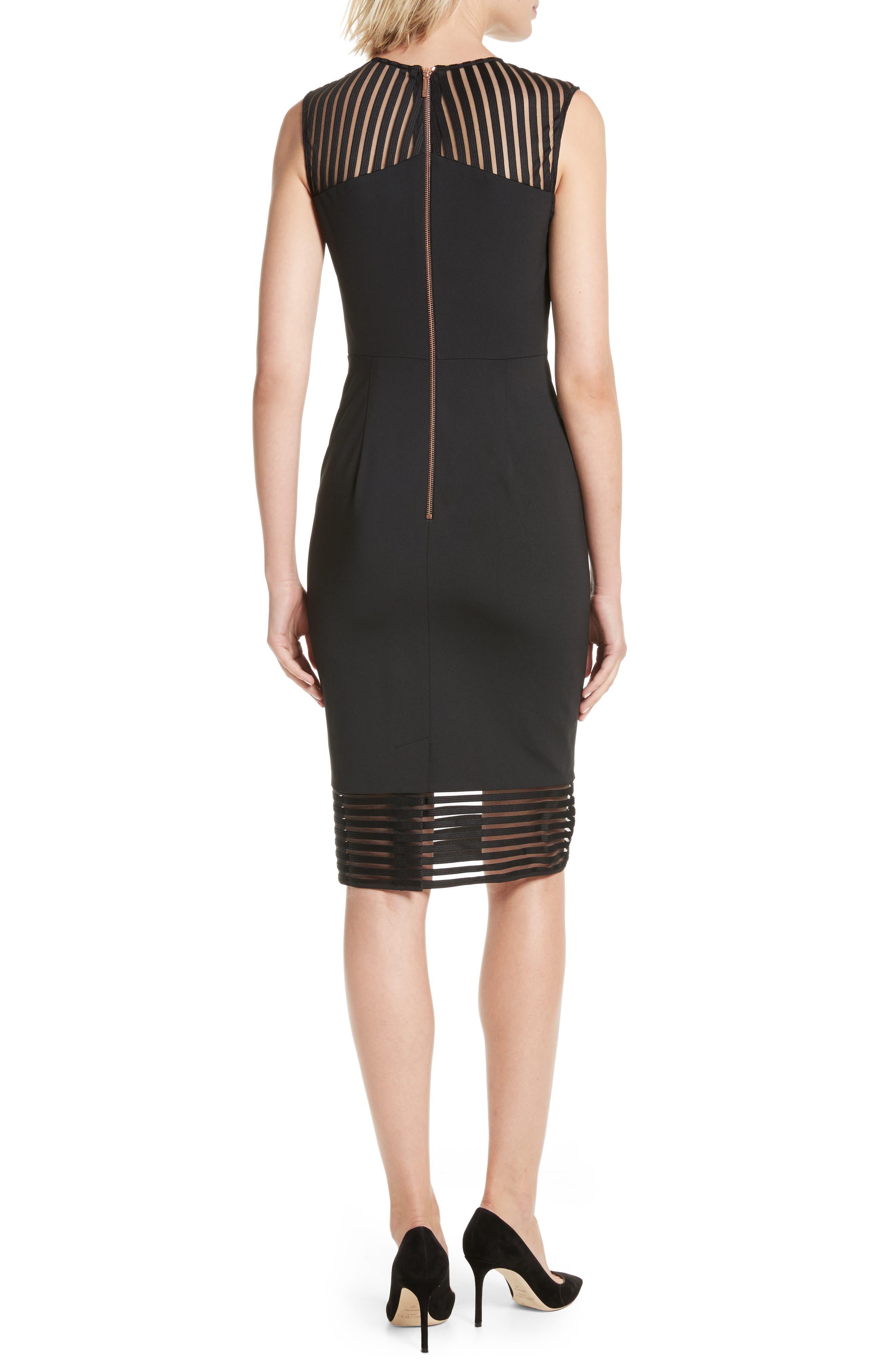 Lucette Mesh Detail Body Con Dress,                             Alternate thumbnail 2, color,                             Black