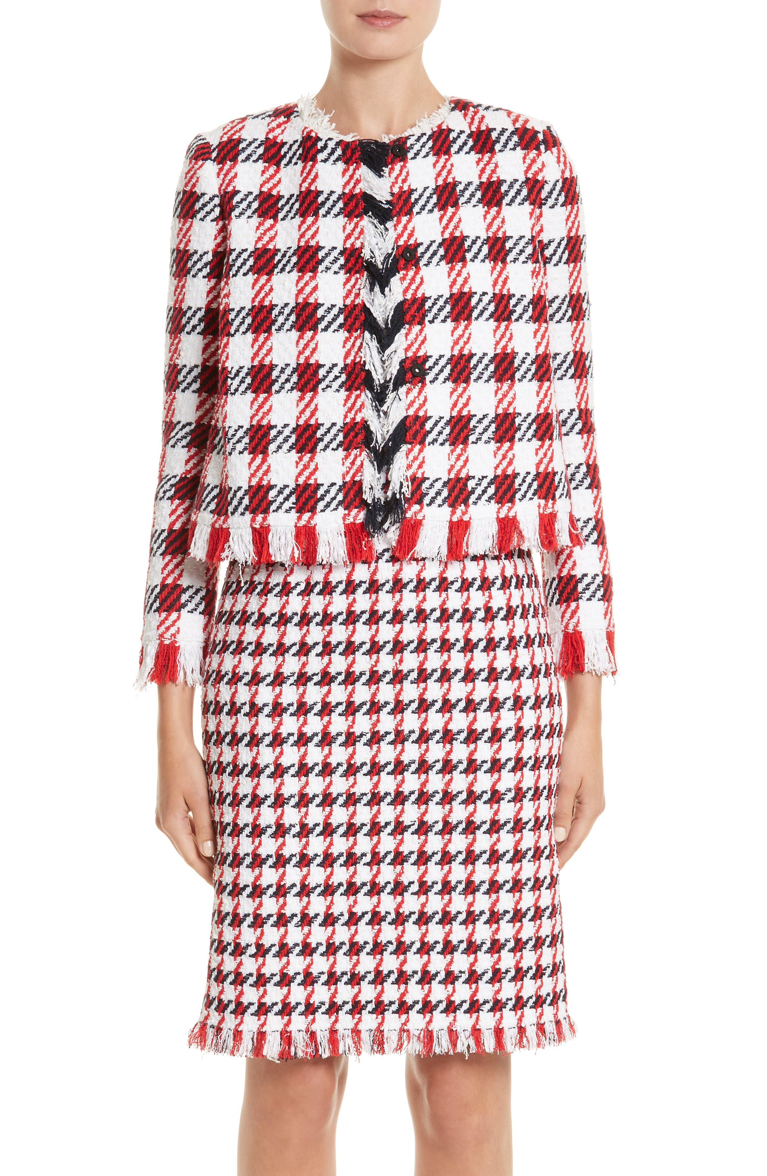Houndstooth Tweed Jacket,                         Main,                         color, Ivory