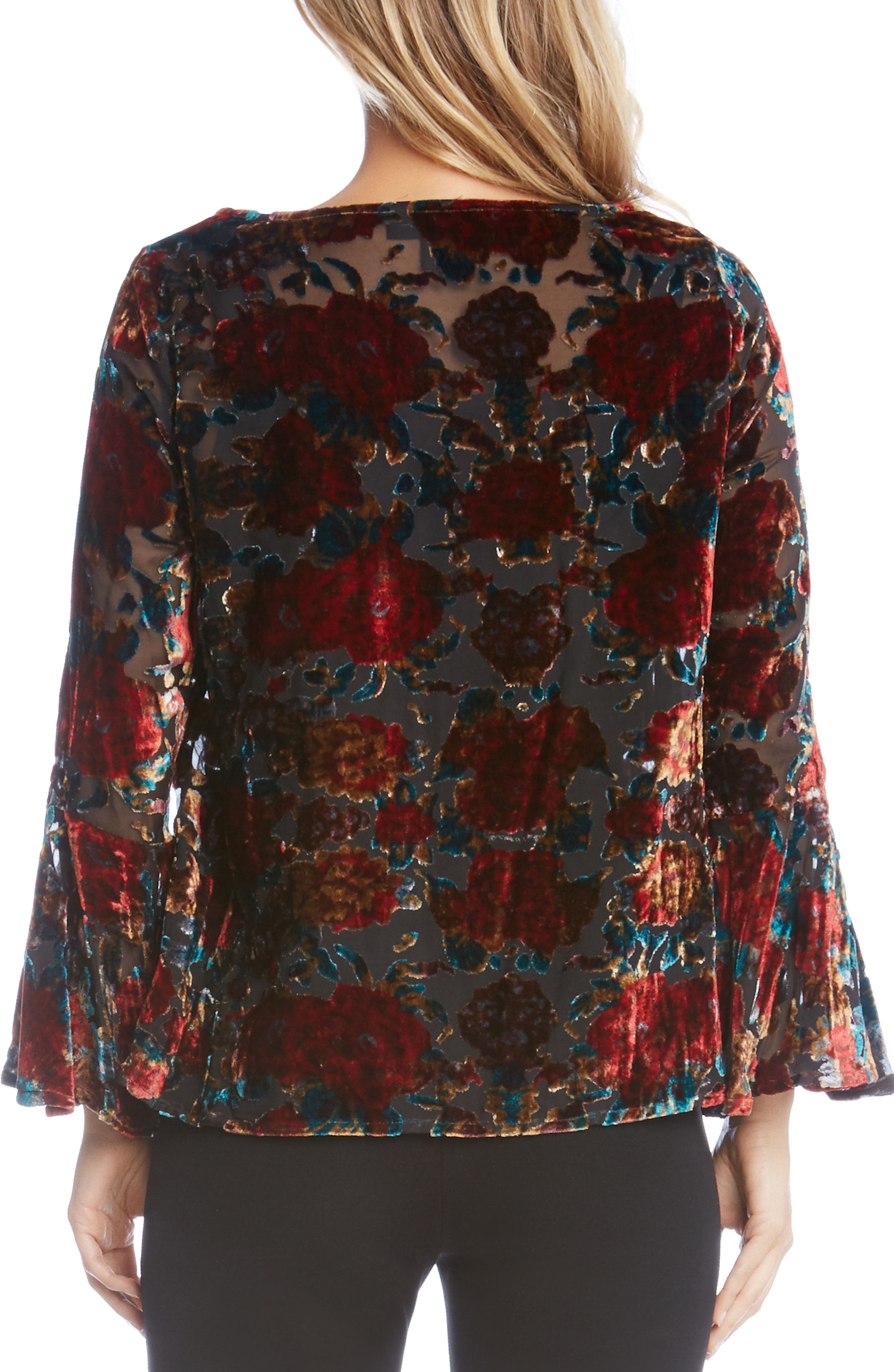 Alternate Image 2  - Karen Kane Floral Bell Sleeve Velvet Top