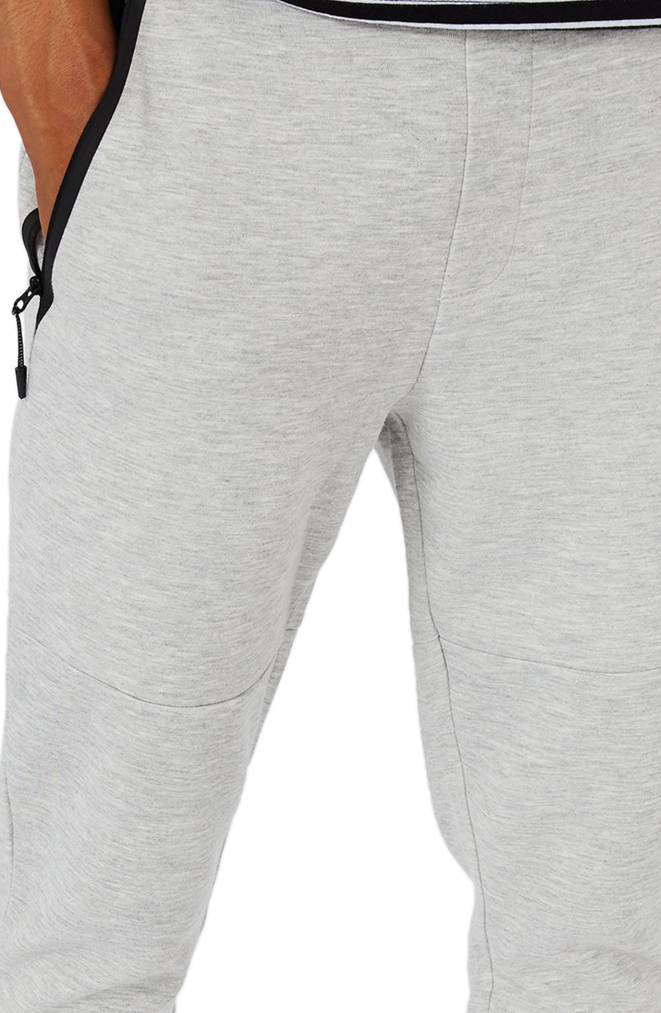 Zip Detail Skinny Jogger Pants,                             Alternate thumbnail 3, color,                             Grey