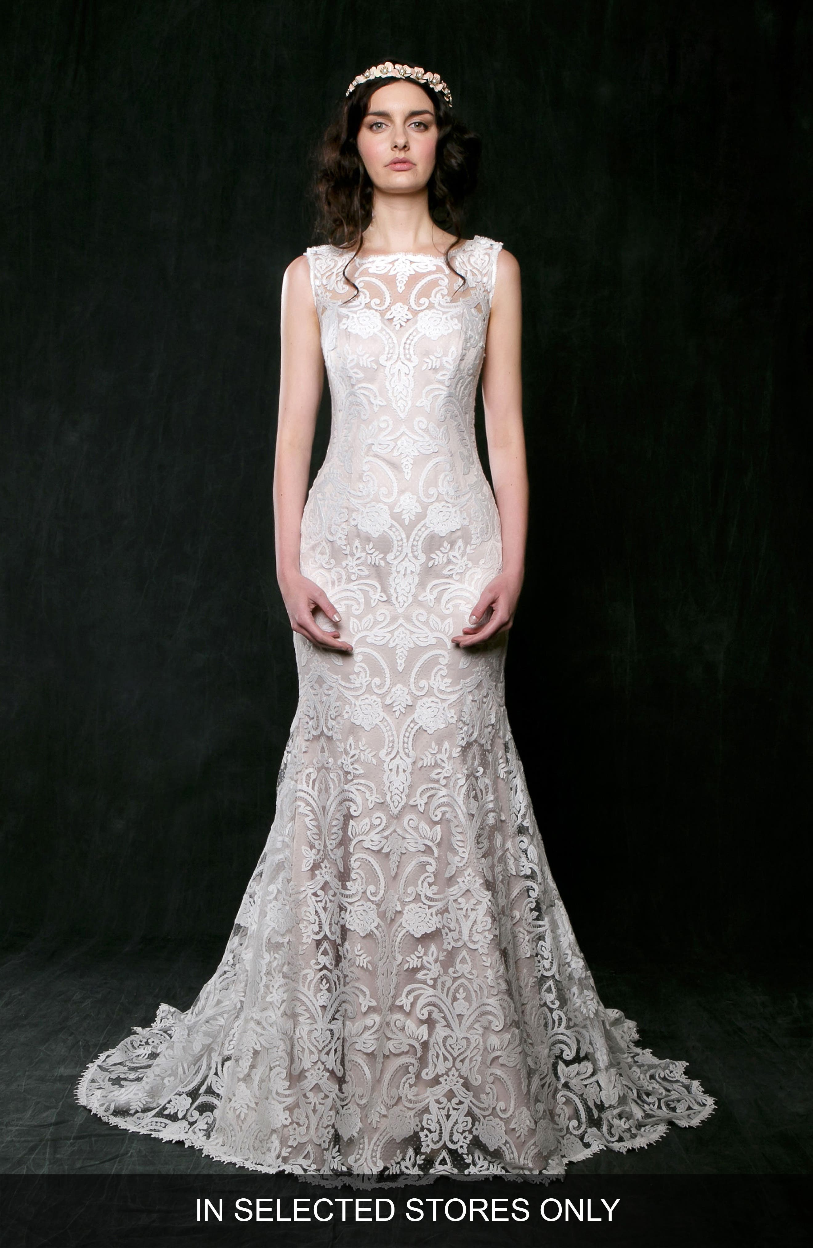 Jonquil Lace Mermaid Gown,                         Main,                         color, Ivory/ Nude