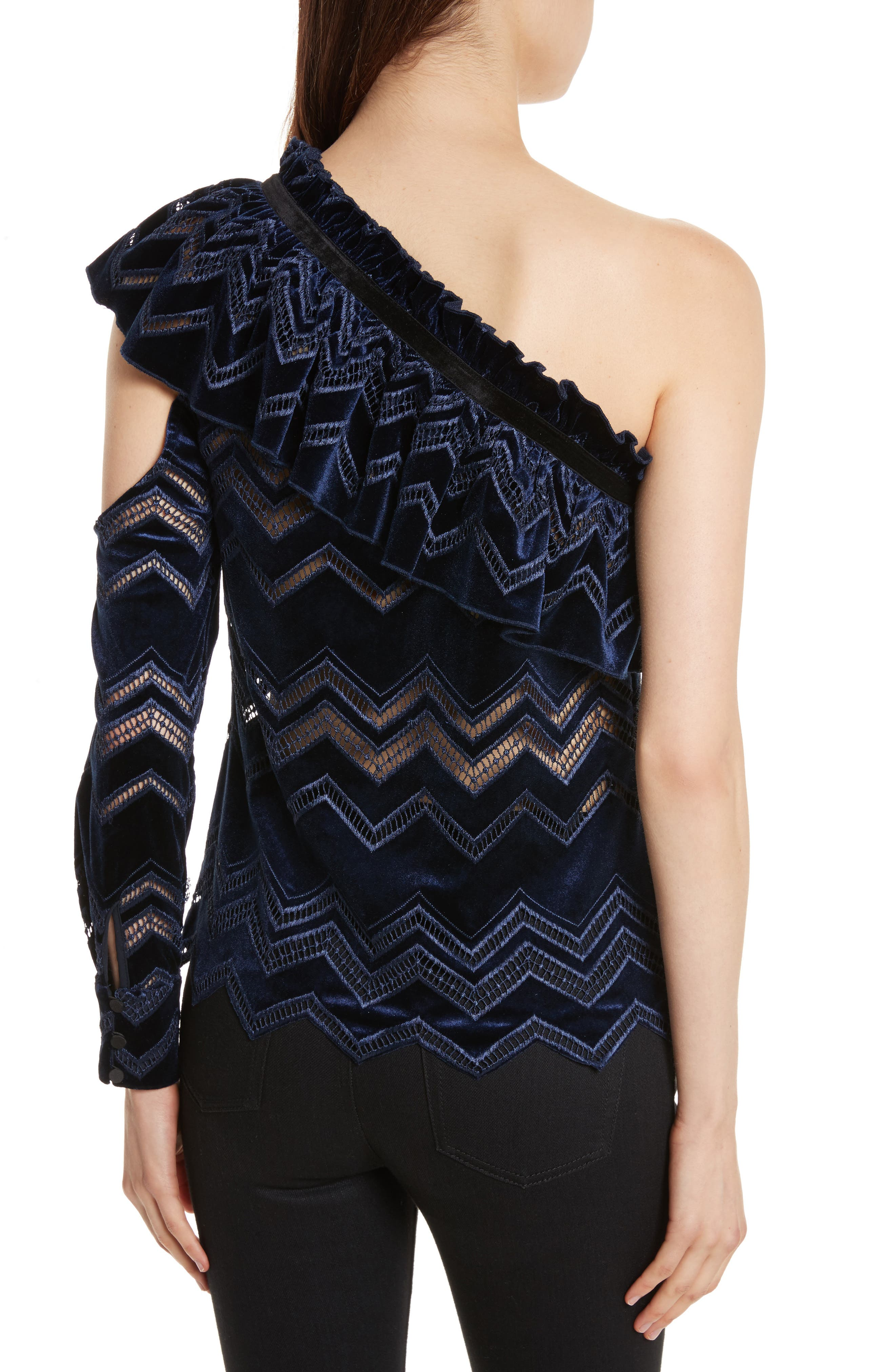 Zigzag Embroidered Velvet Top,                             Alternate thumbnail 2, color,                             Blue