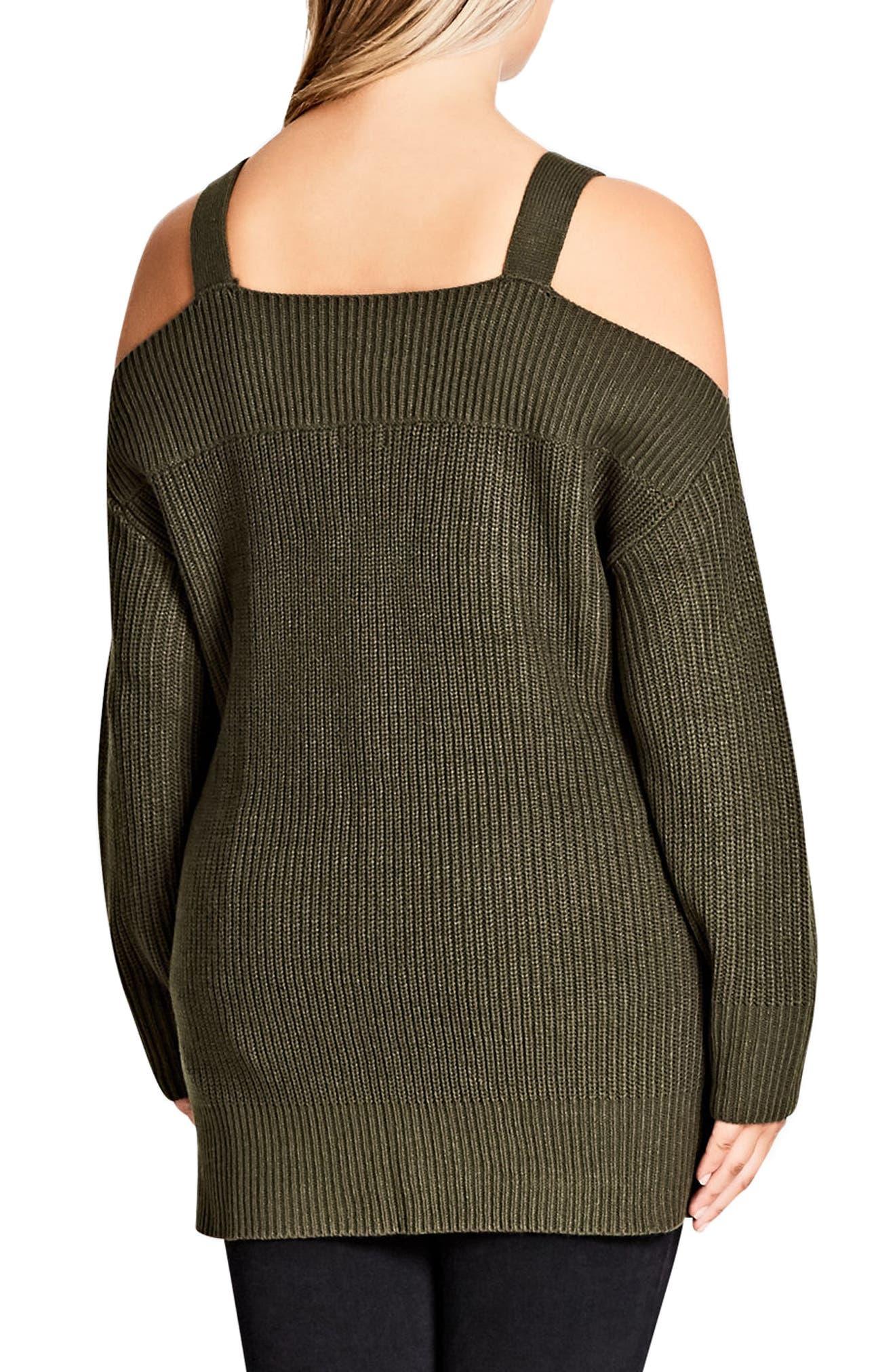 Off the Shoulder Sweater,                             Alternate thumbnail 2, color,                             Khaki
