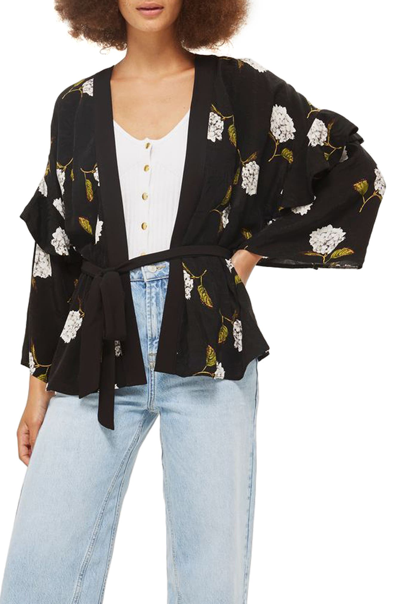 Floral Ruffle Sleeve Kimono,                             Main thumbnail 1, color,                             Black Multi