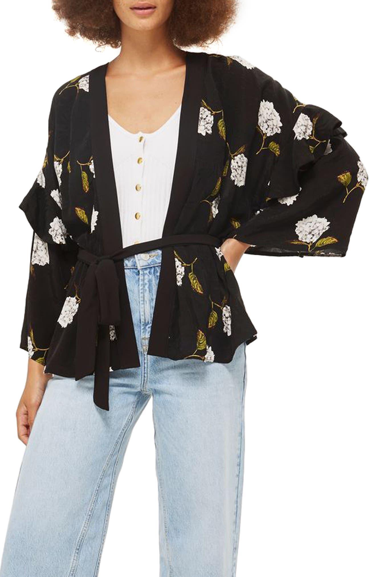 Floral Ruffle Sleeve Kimono,                         Main,                         color, Black Multi