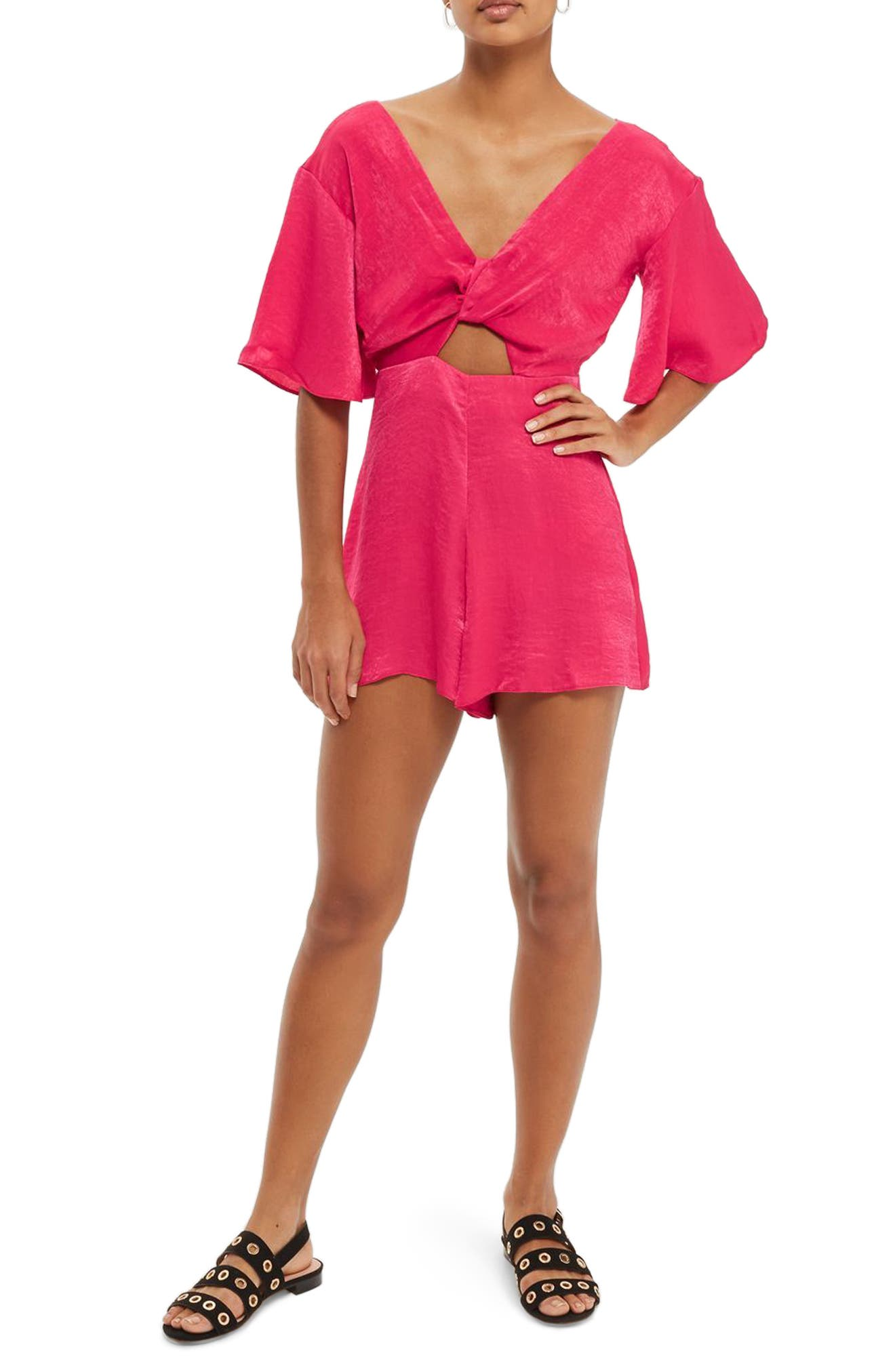 Knot Plunge Romper,                         Main,                         color, Bright Pink