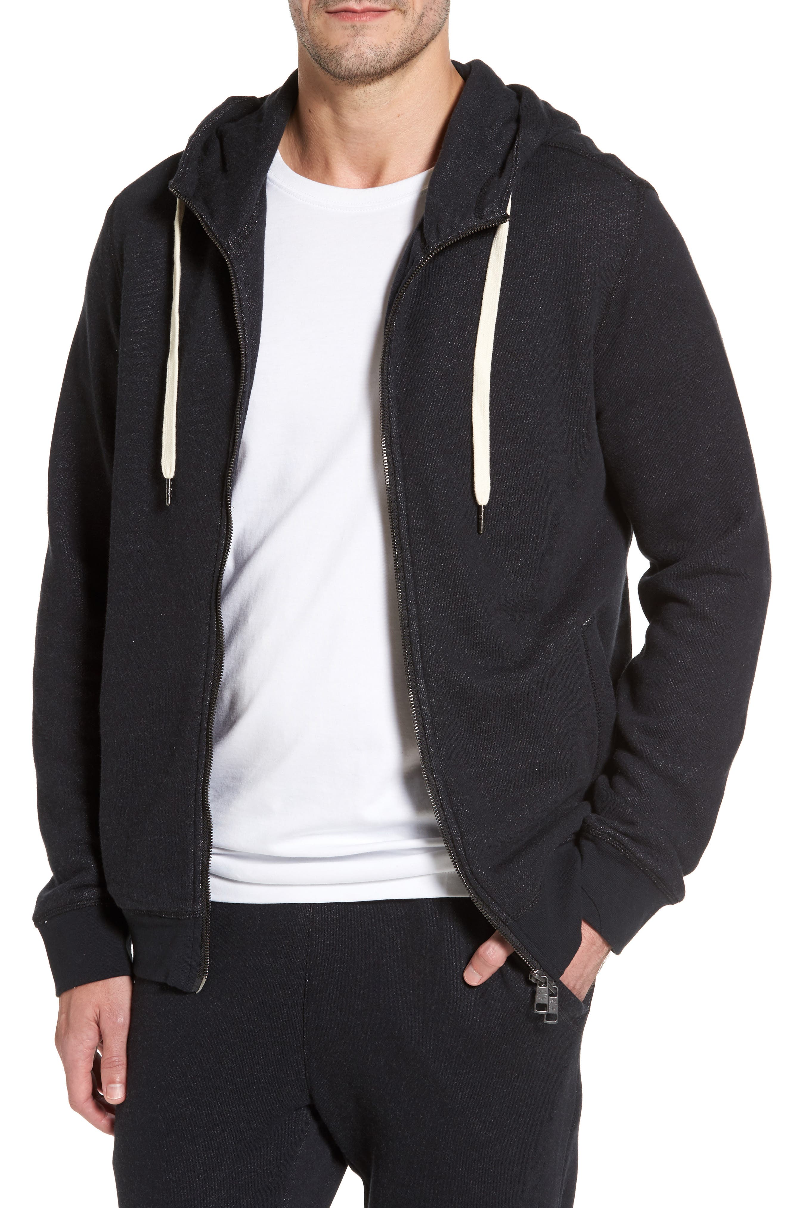 French Terry Full Zip Hoodie,                             Main thumbnail 1, color,                             Black