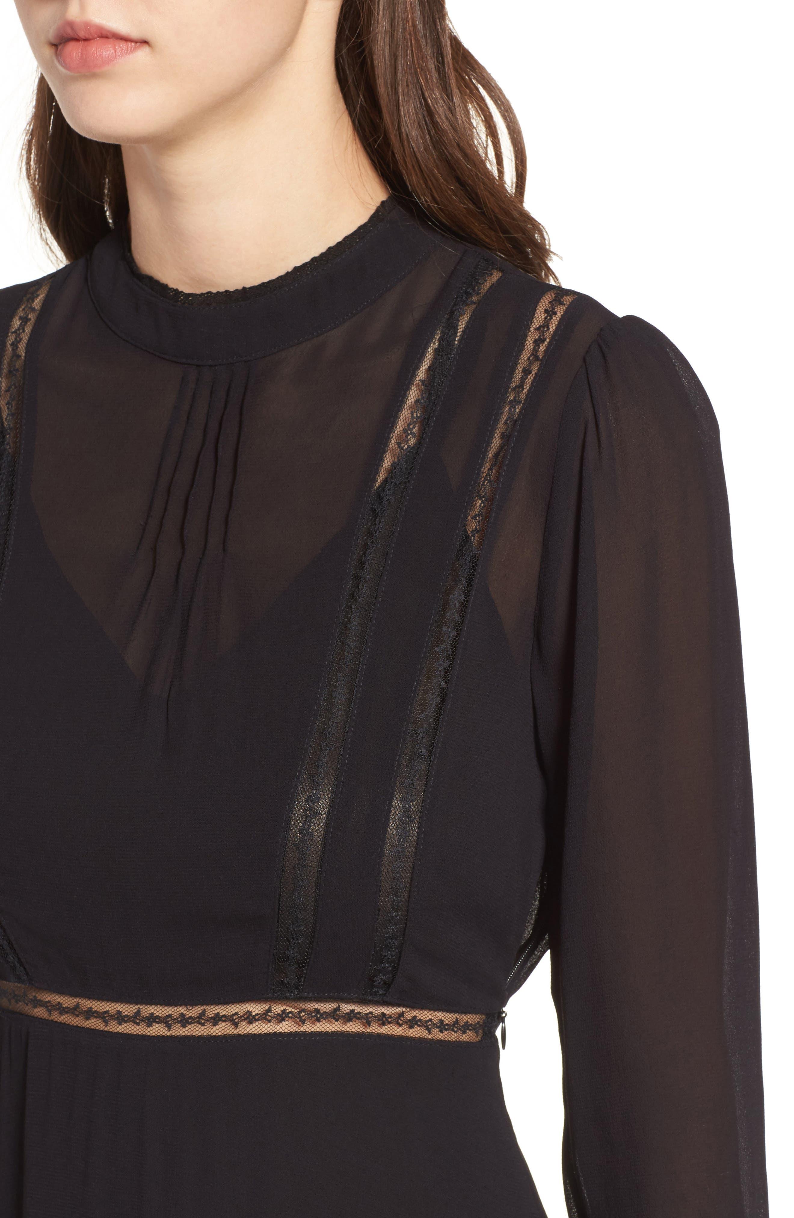 Kirsten A-Line Dress,                             Alternate thumbnail 4, color,                             Black
