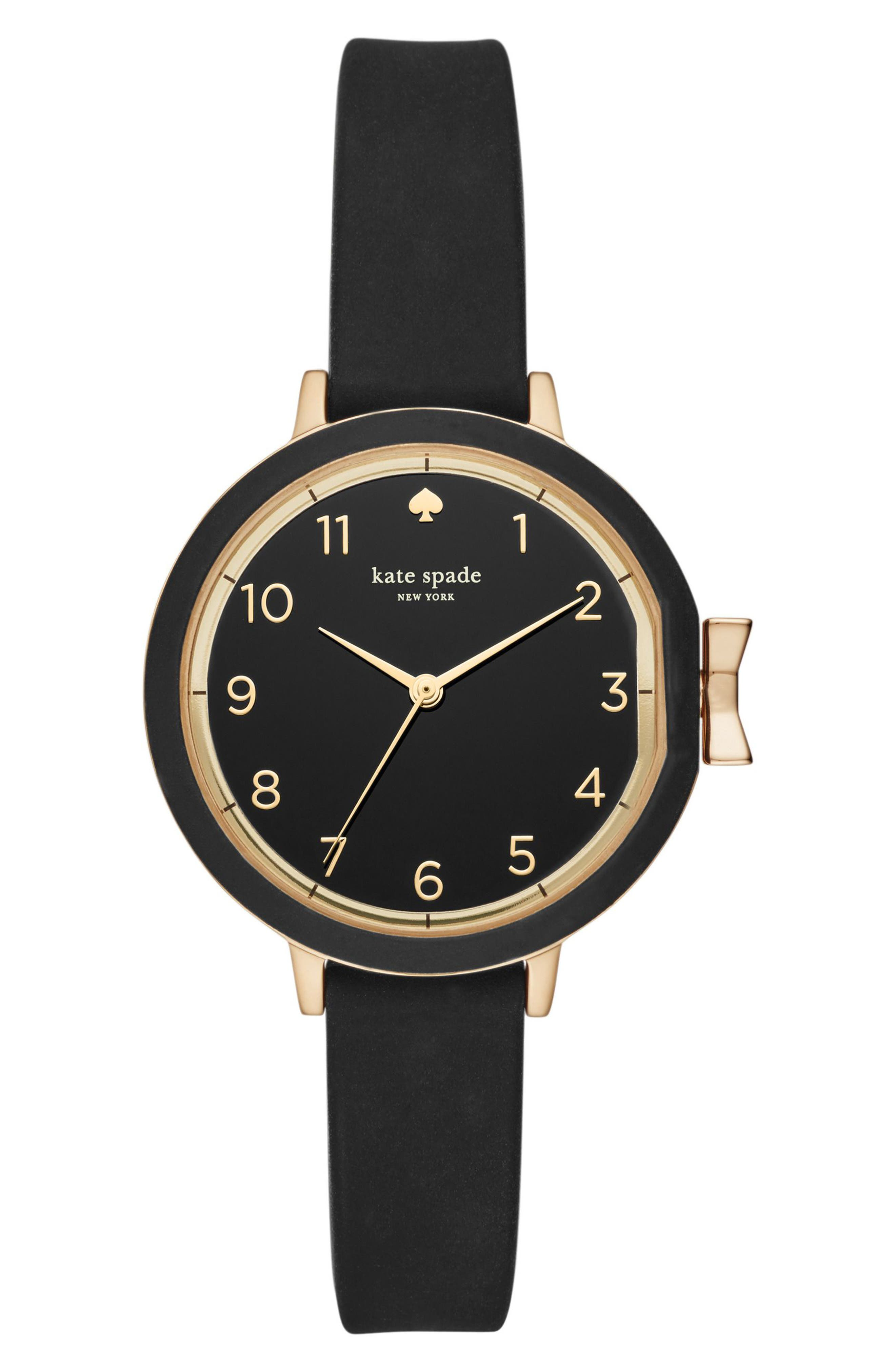 park row silicone strap watch, 34mm,                         Main,                         color, Black/ Gold