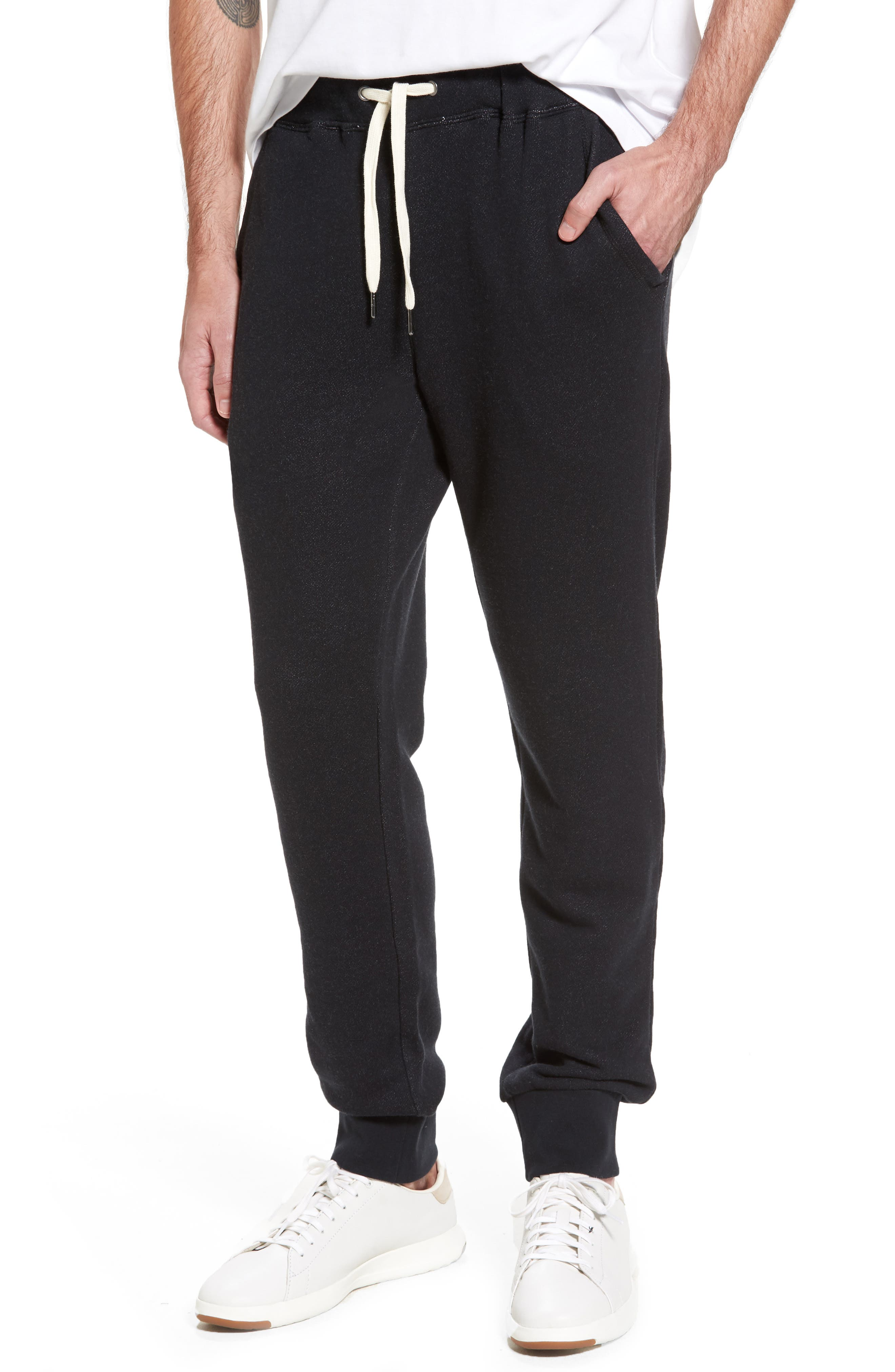 French Terry Jogger Pants,                             Main thumbnail 1, color,                             Black