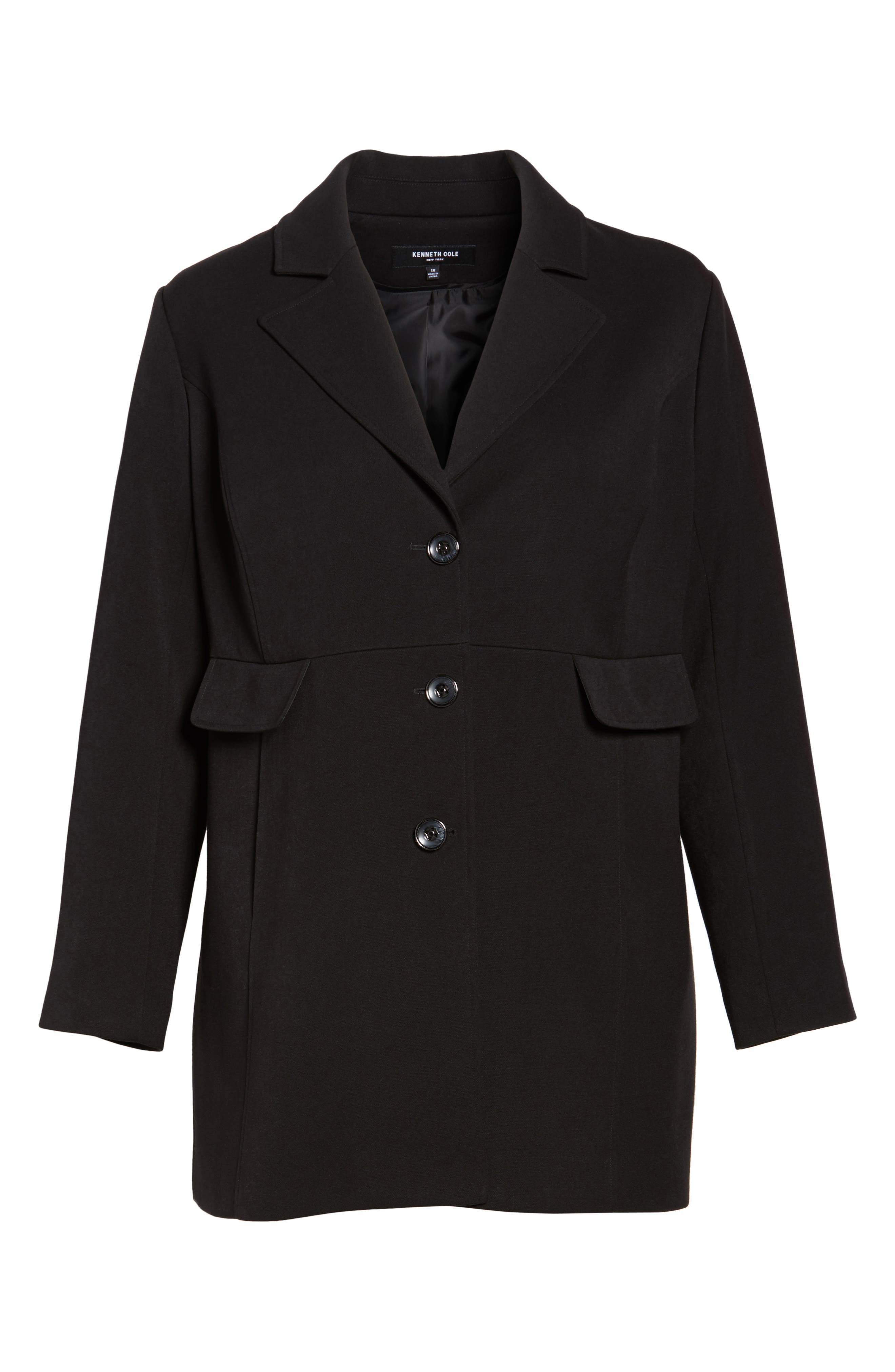 Single Breasted Ponte Coat,                             Alternate thumbnail 6, color,                             Black