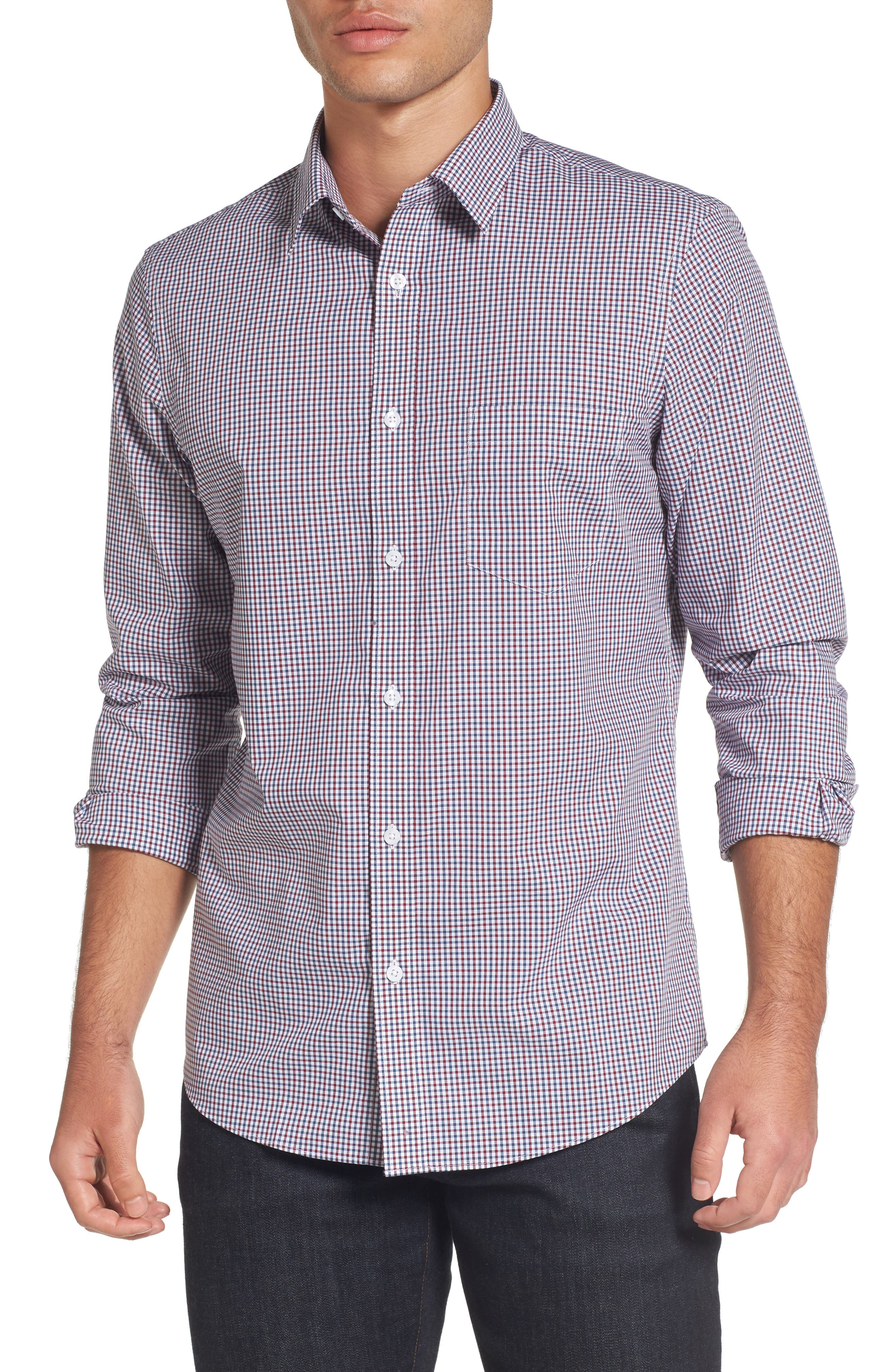 Nordstrom Men's Shop Regular Fit Non-Iron Gingham Check Sport Shirt (Regular & Tall)