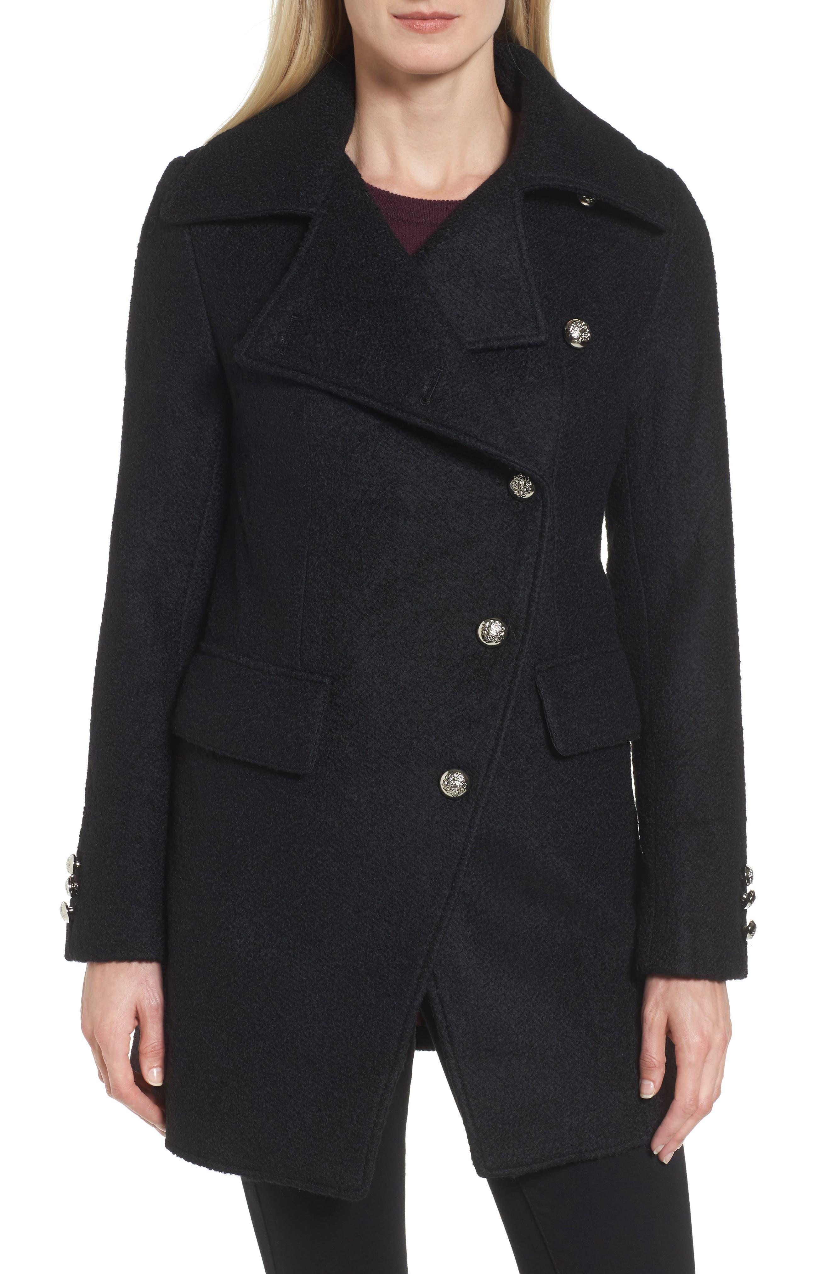 Bouclé Military Coat,                         Main,                         color, Black