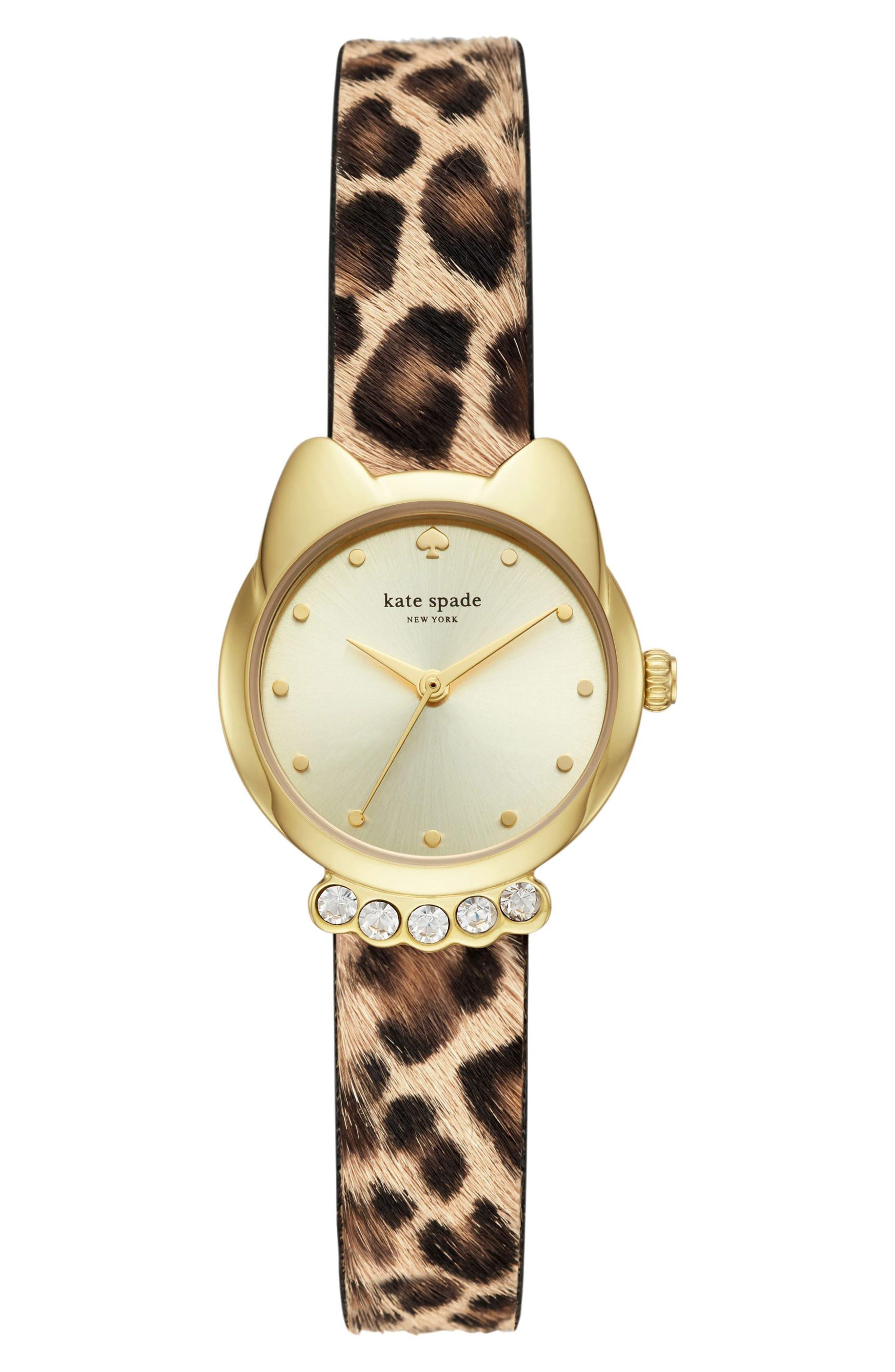 kate spade new york cat genuine calf hair strap watch, 26mm