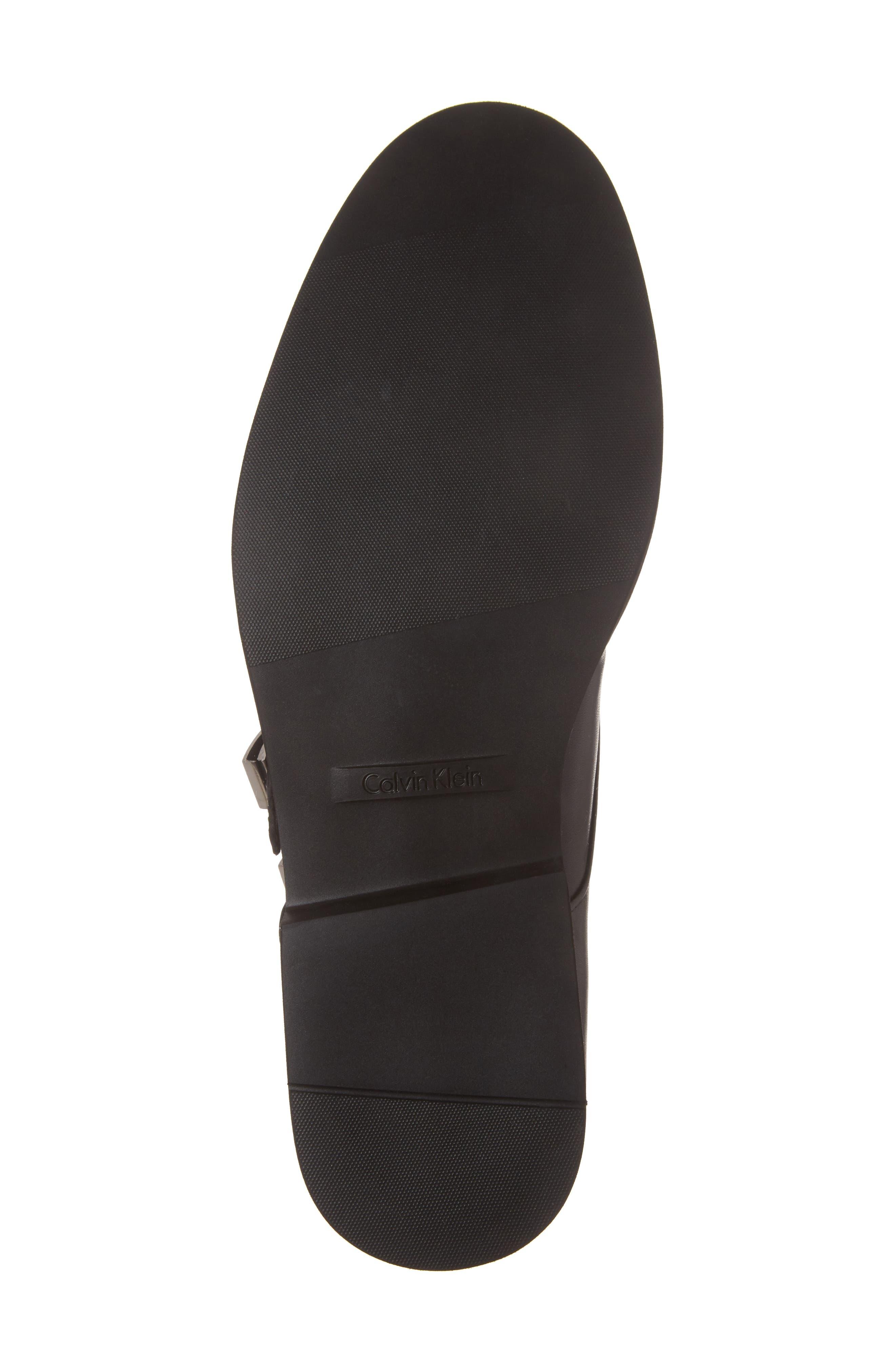 Finnegan Double Monk Strap Shoe,                             Alternate thumbnail 6, color,                             Black Leather