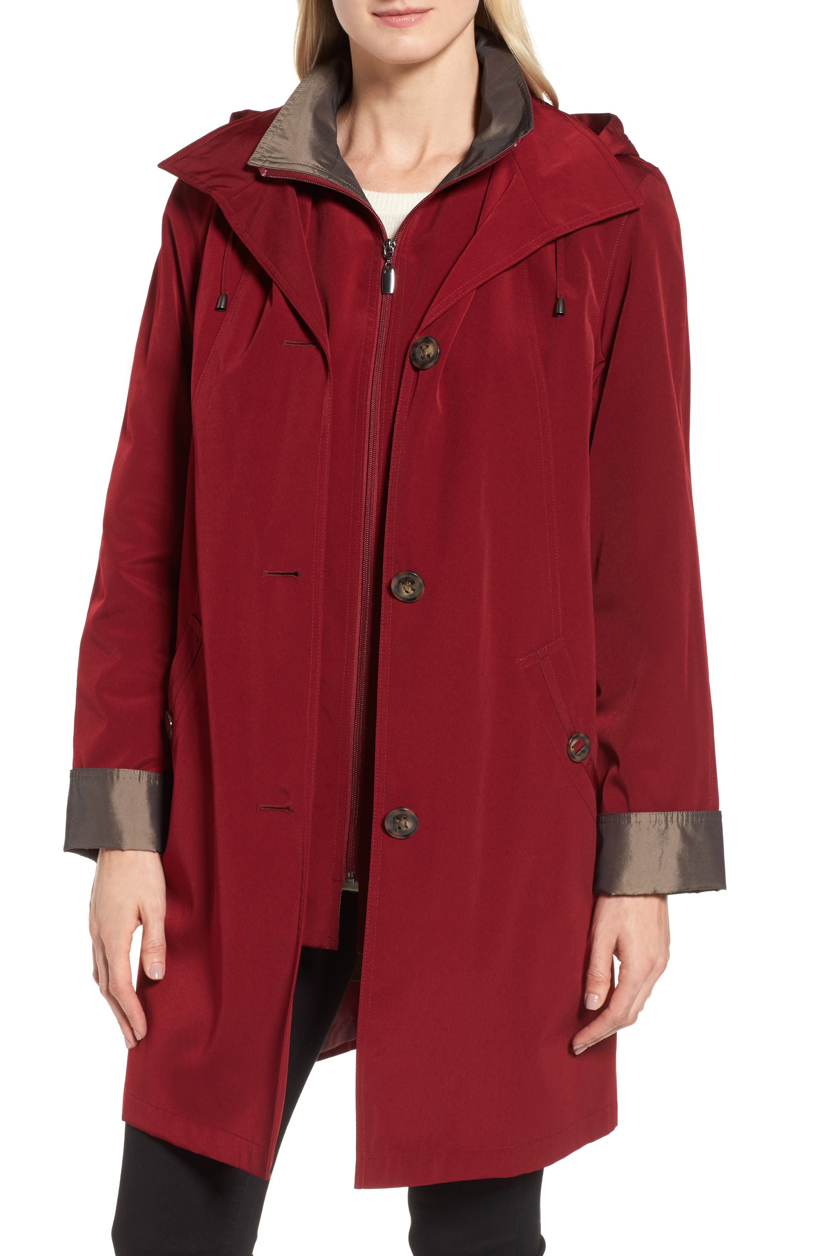 Gallery A-Line Raincoat with Detachable Hood & Liner (Online Exclusive)