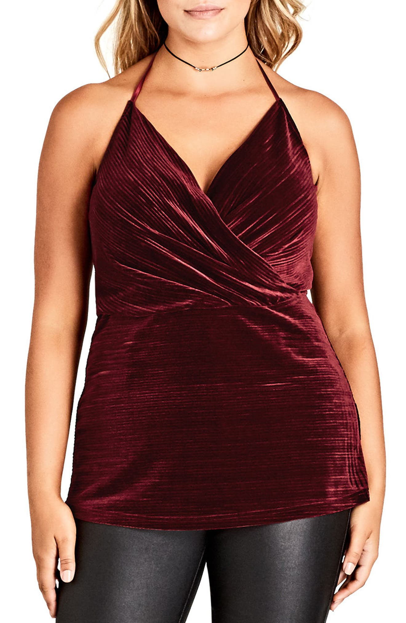 City Chic Infinity Stretch Velvet Halter Top (Plus Size)