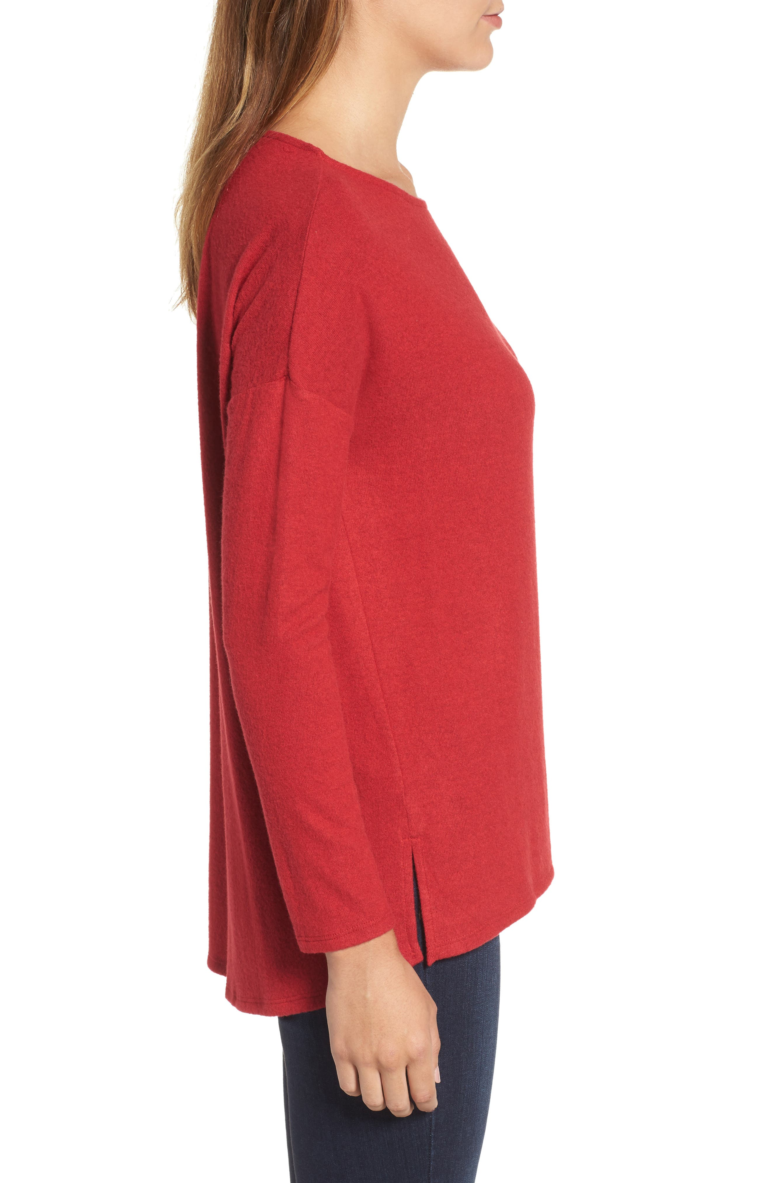 Alternate Image 3  - Gibson Cozy Fleece Ballet Neck High/Low Pullover (Regular & Petite)