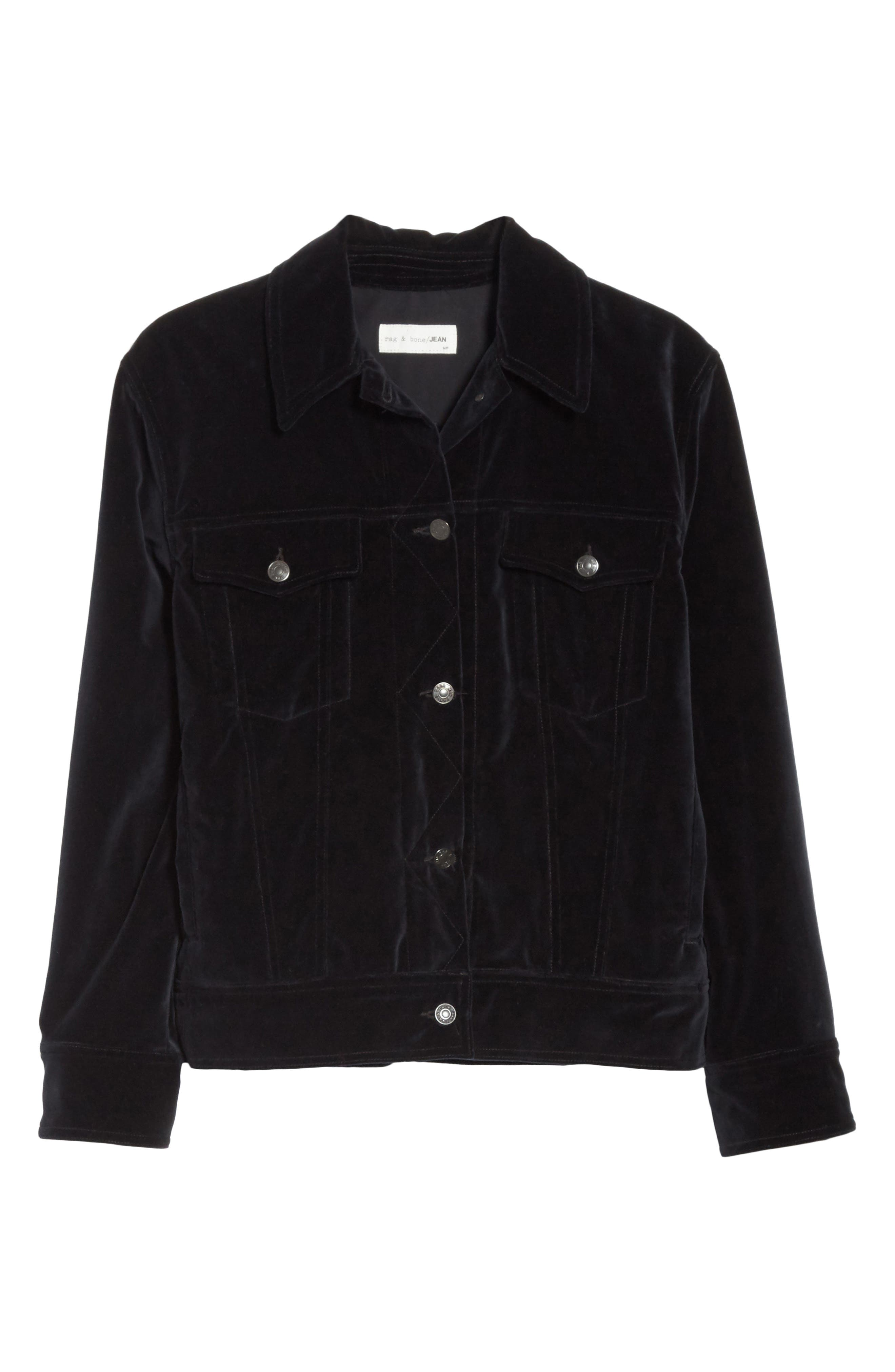Oversize Velvet Jacket,                             Alternate thumbnail 6, color,                             Black Velvet