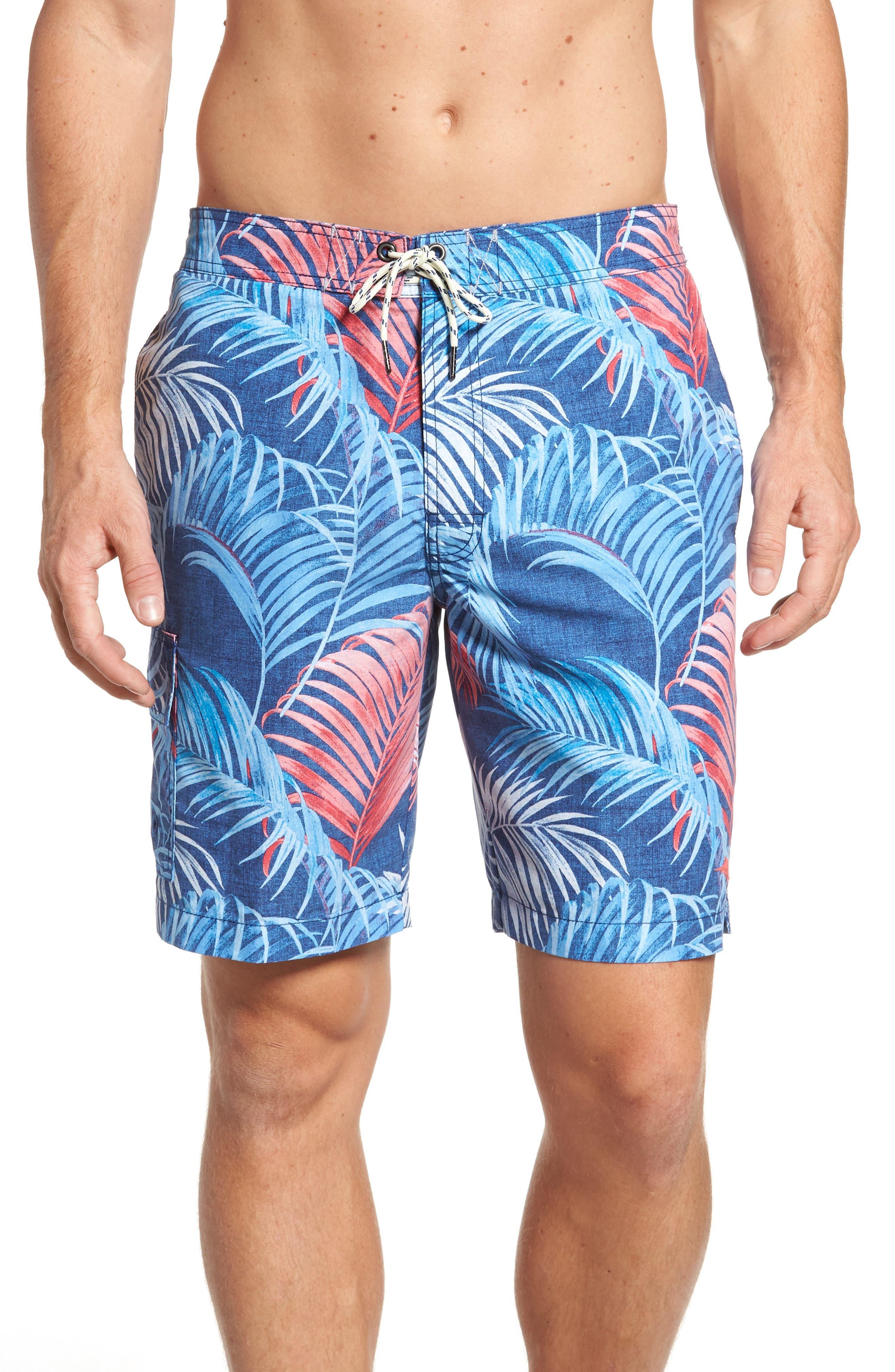 Baja Fez Frond Board Shorts,                         Main,                         color, Eclipse