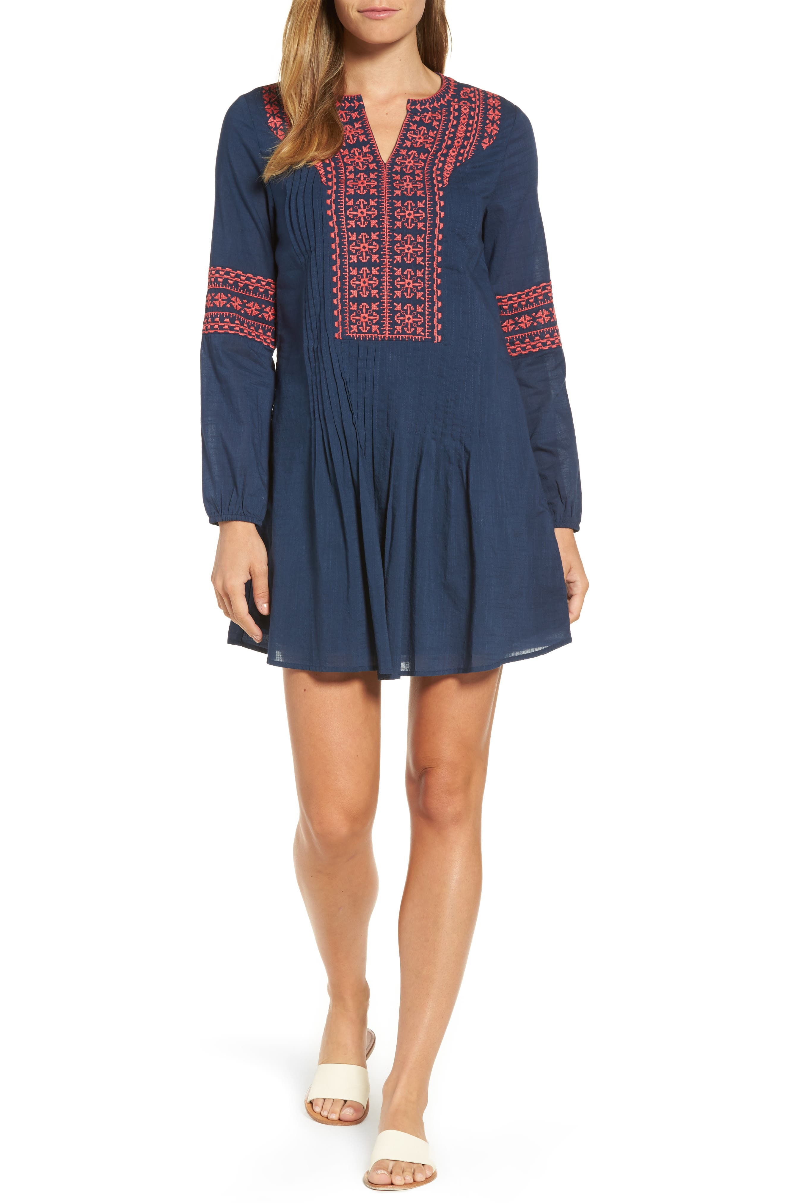 Embroidered Pintuck Dress,                         Main,                         color, Deep Bay
