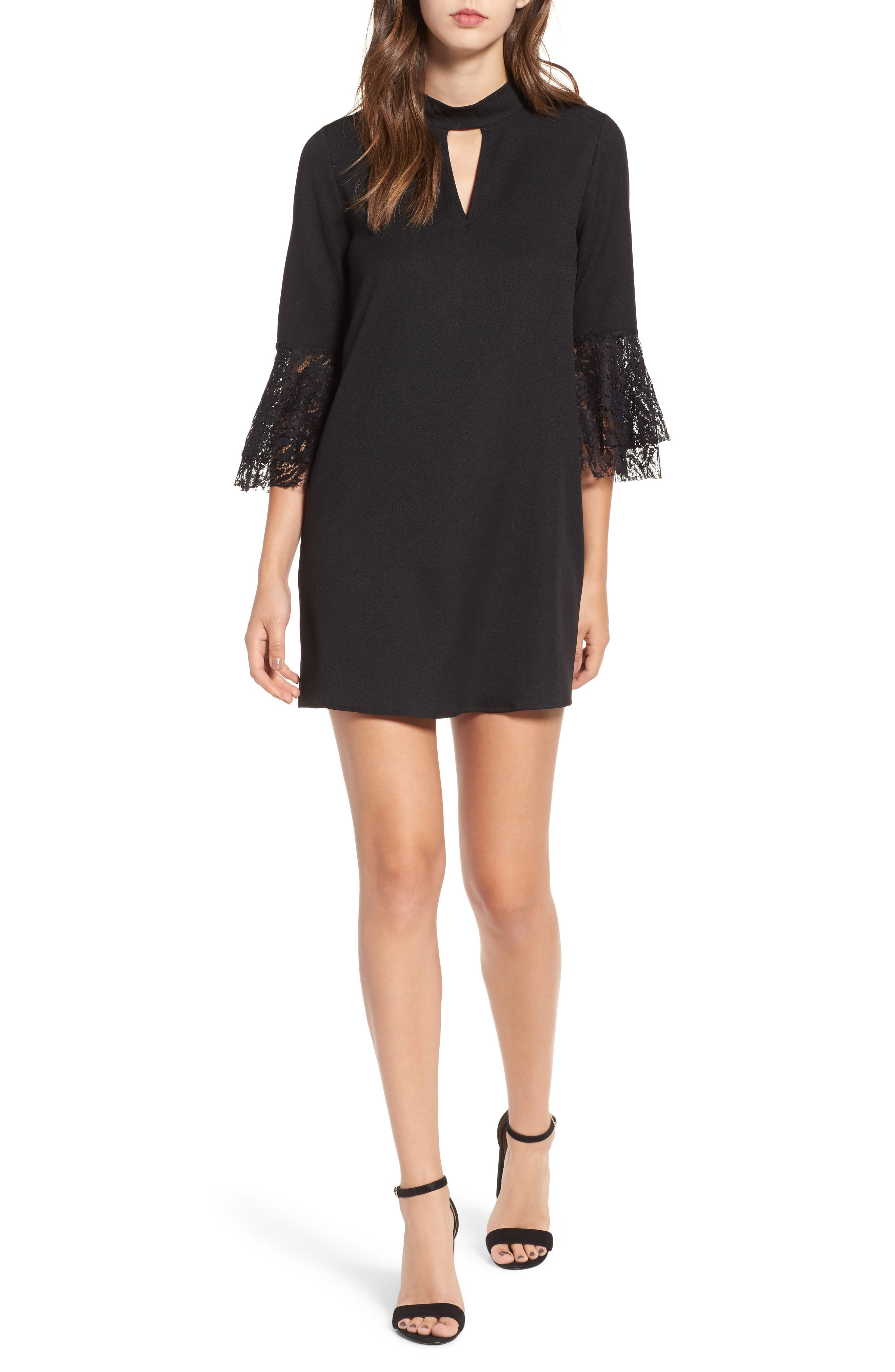 Everly Lace Trim Bell Sleeve Dress