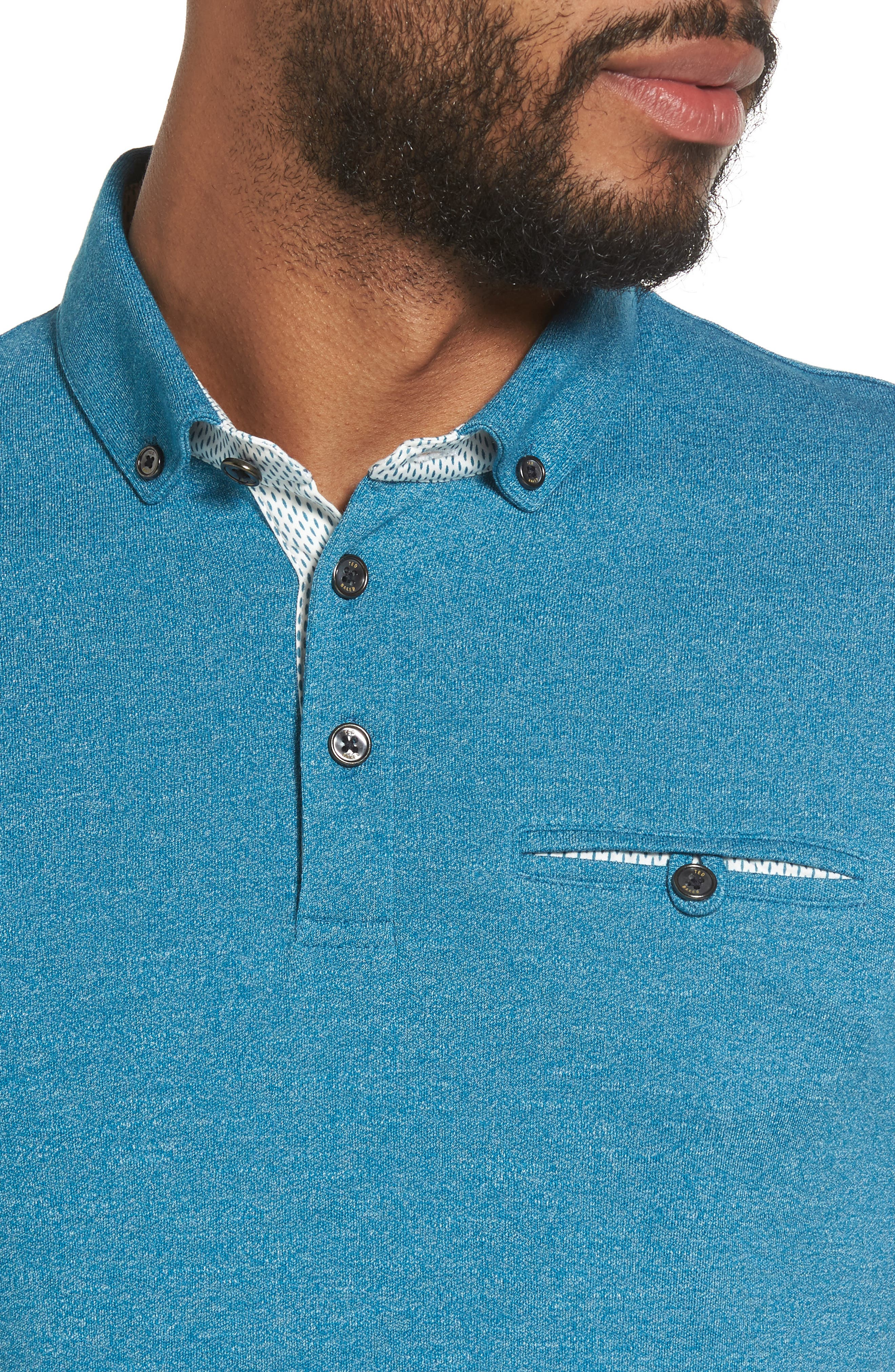 Frankiy Button Collar Polo,                             Alternate thumbnail 4, color,                             Teal