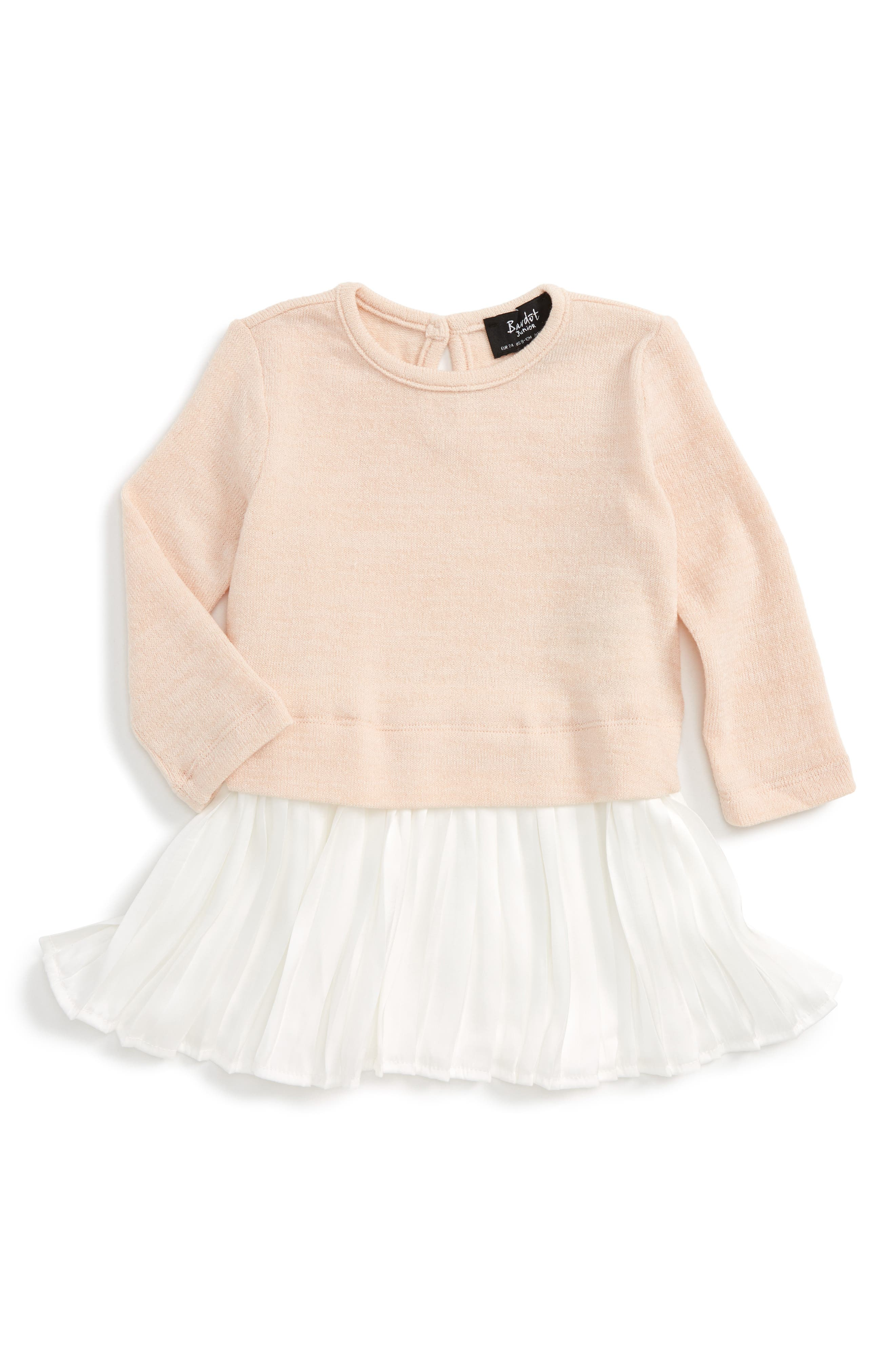 Pleated Sweater Dress,                         Main,                         color, Dusty Pink